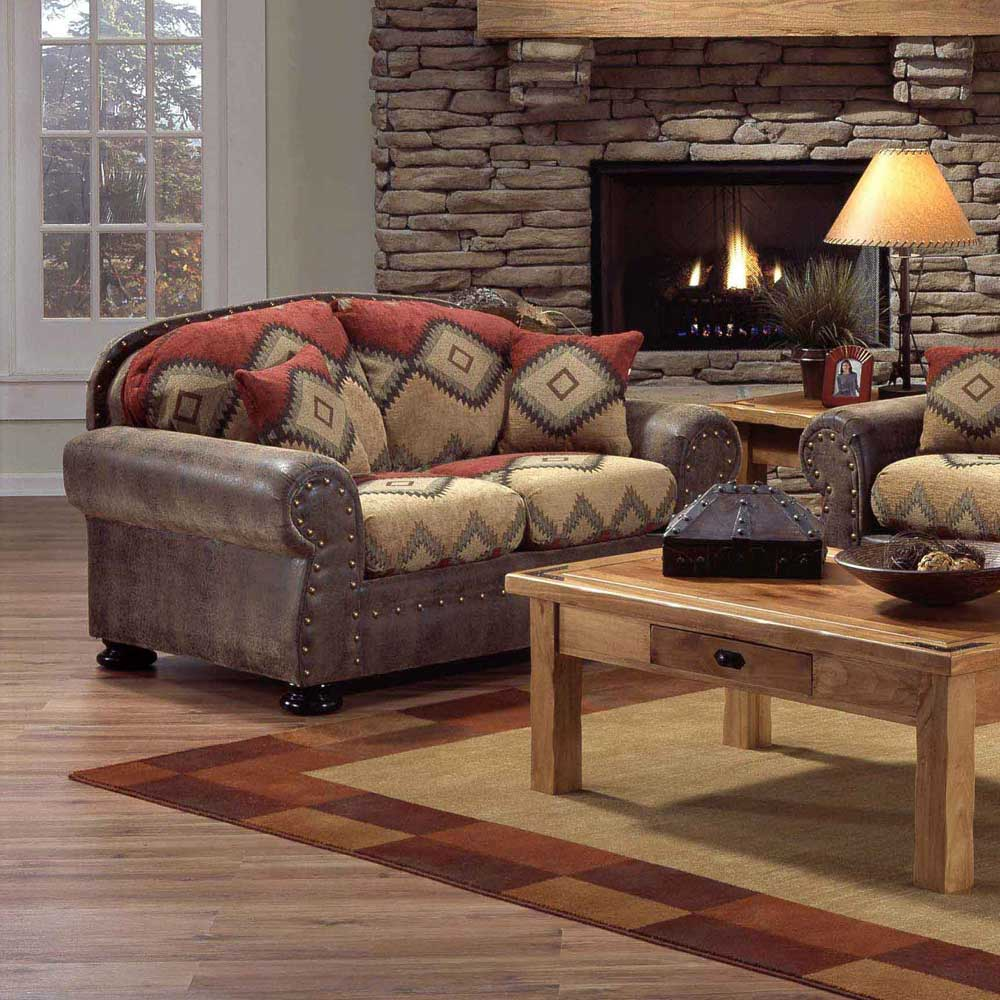 Intermountain furniture navajo southwest style loveseat for Rustic living room furniture