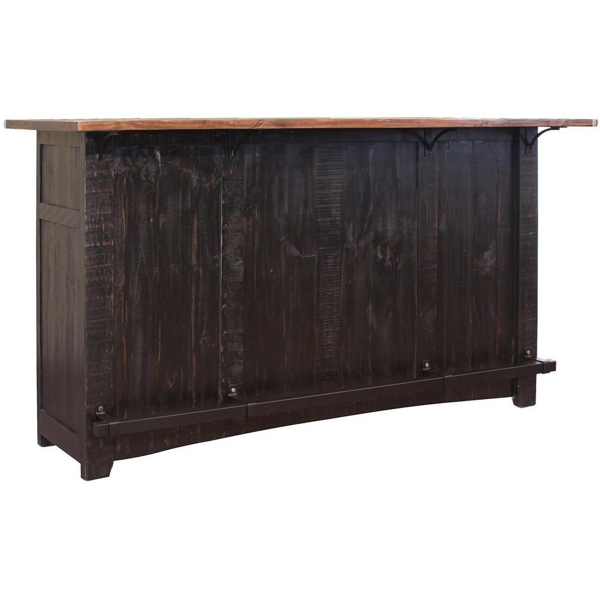 International Furniture Direct Pueblo Wooden Bar With Iron