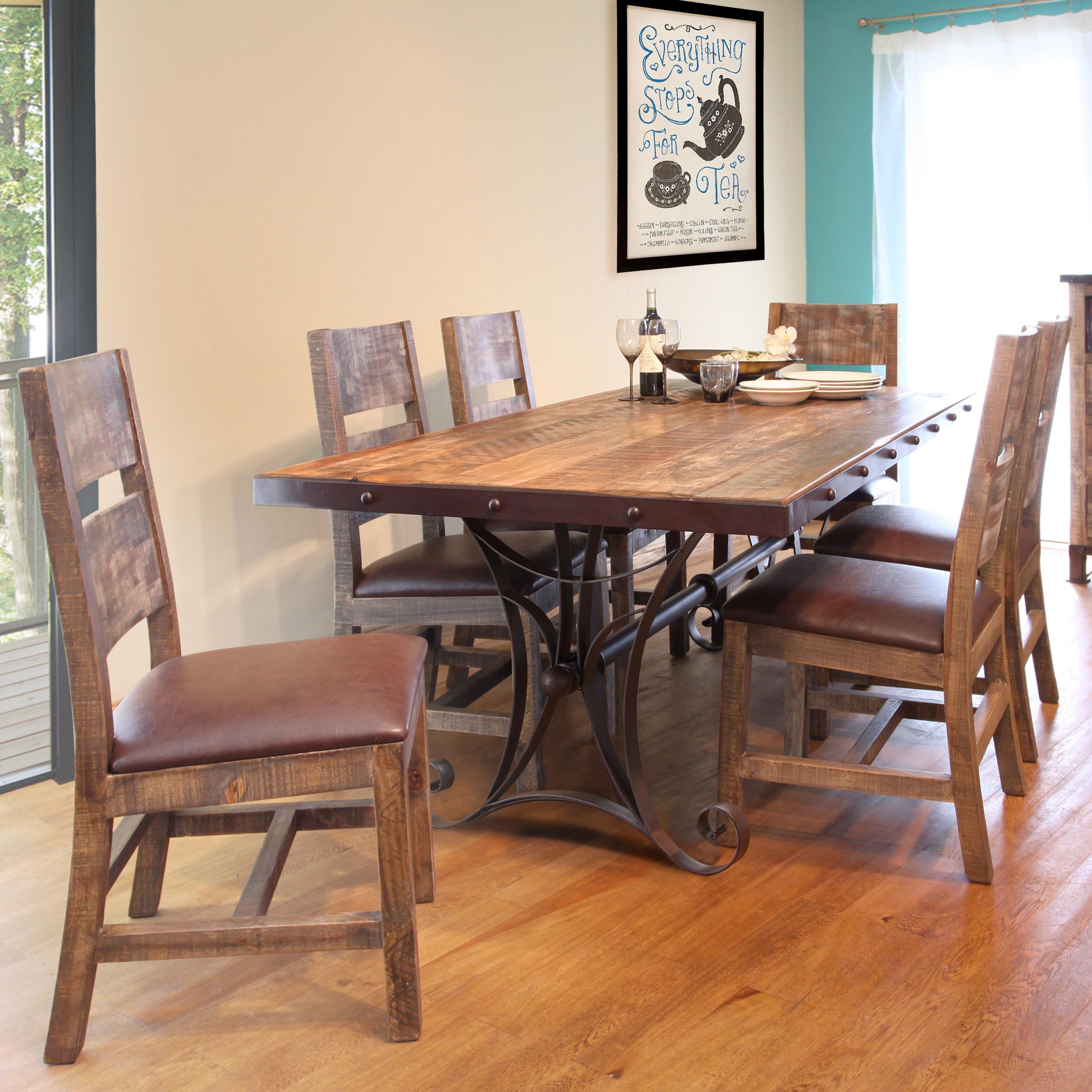 International Furniture Direct 900 Antique 7 Piece Dining