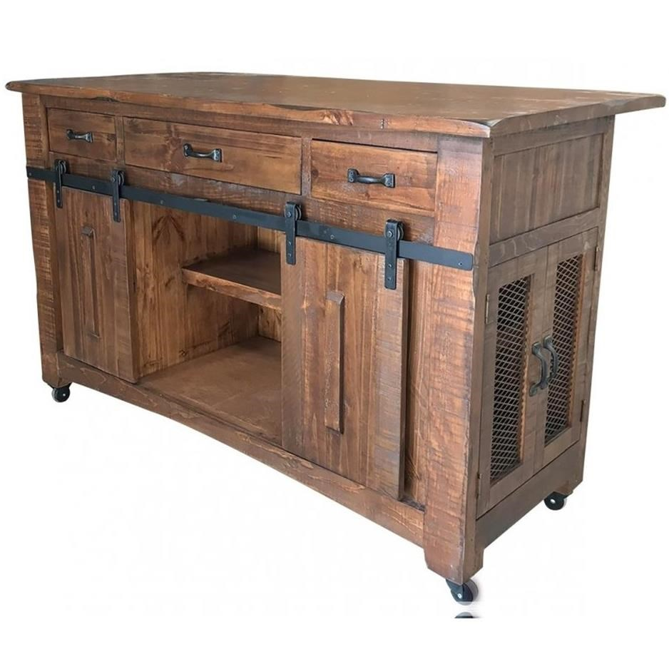 International Furniture Direct Parota Ifd866island Industrial Solid Wood Kitchen Island