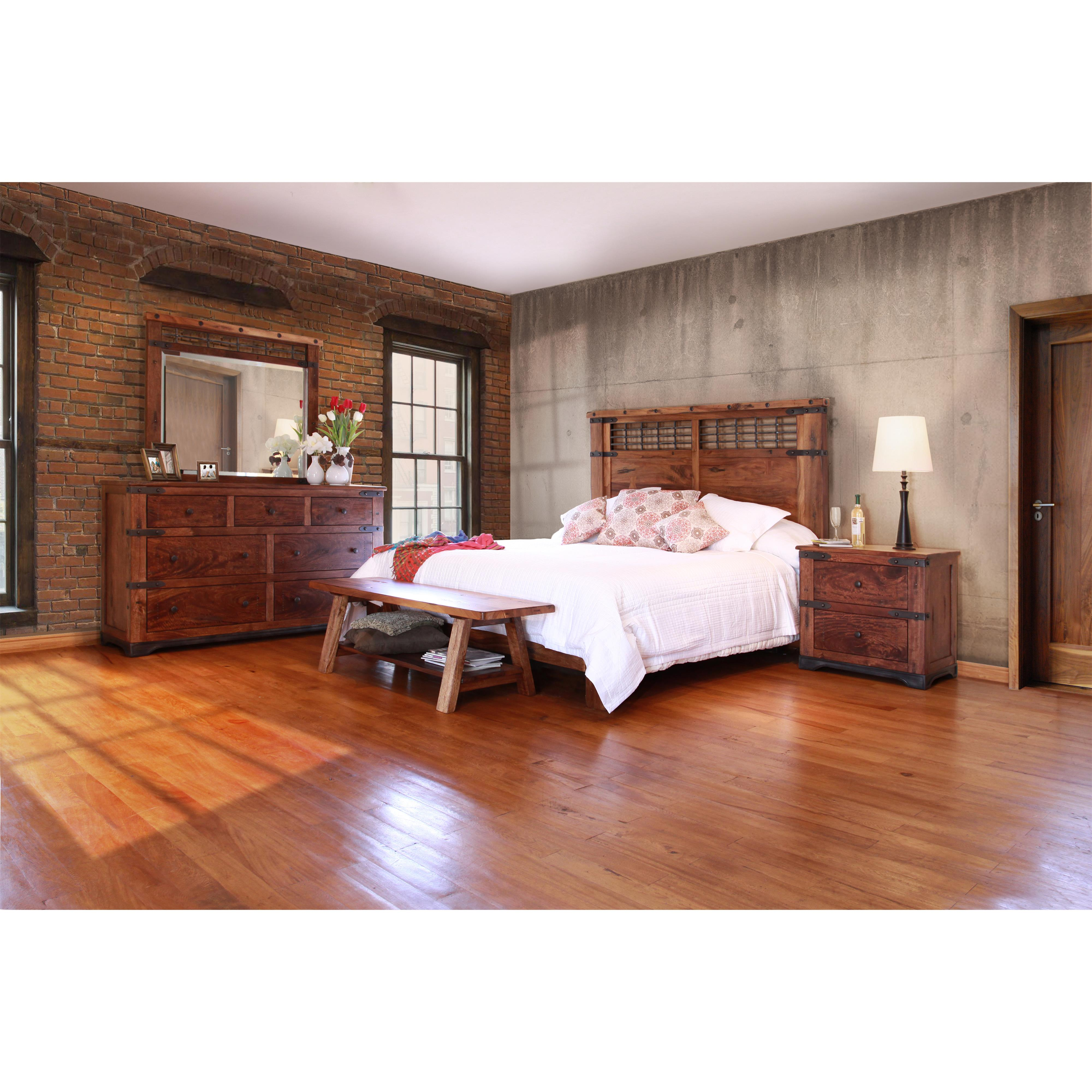 international furniture direct parota mirror with iron. Black Bedroom Furniture Sets. Home Design Ideas