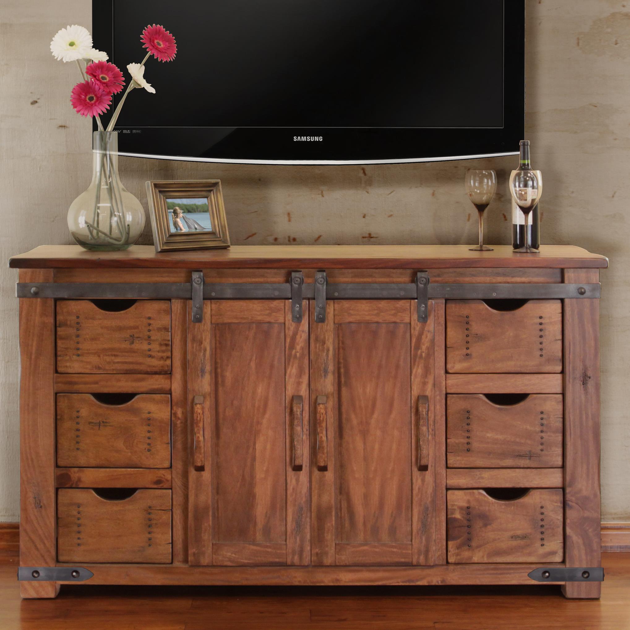 Artisan Home Parota 60 Tv Stand With 6 Drawers Suburban