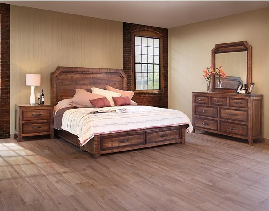 international furniture direct regal rustic queen bedroom. Black Bedroom Furniture Sets. Home Design Ideas