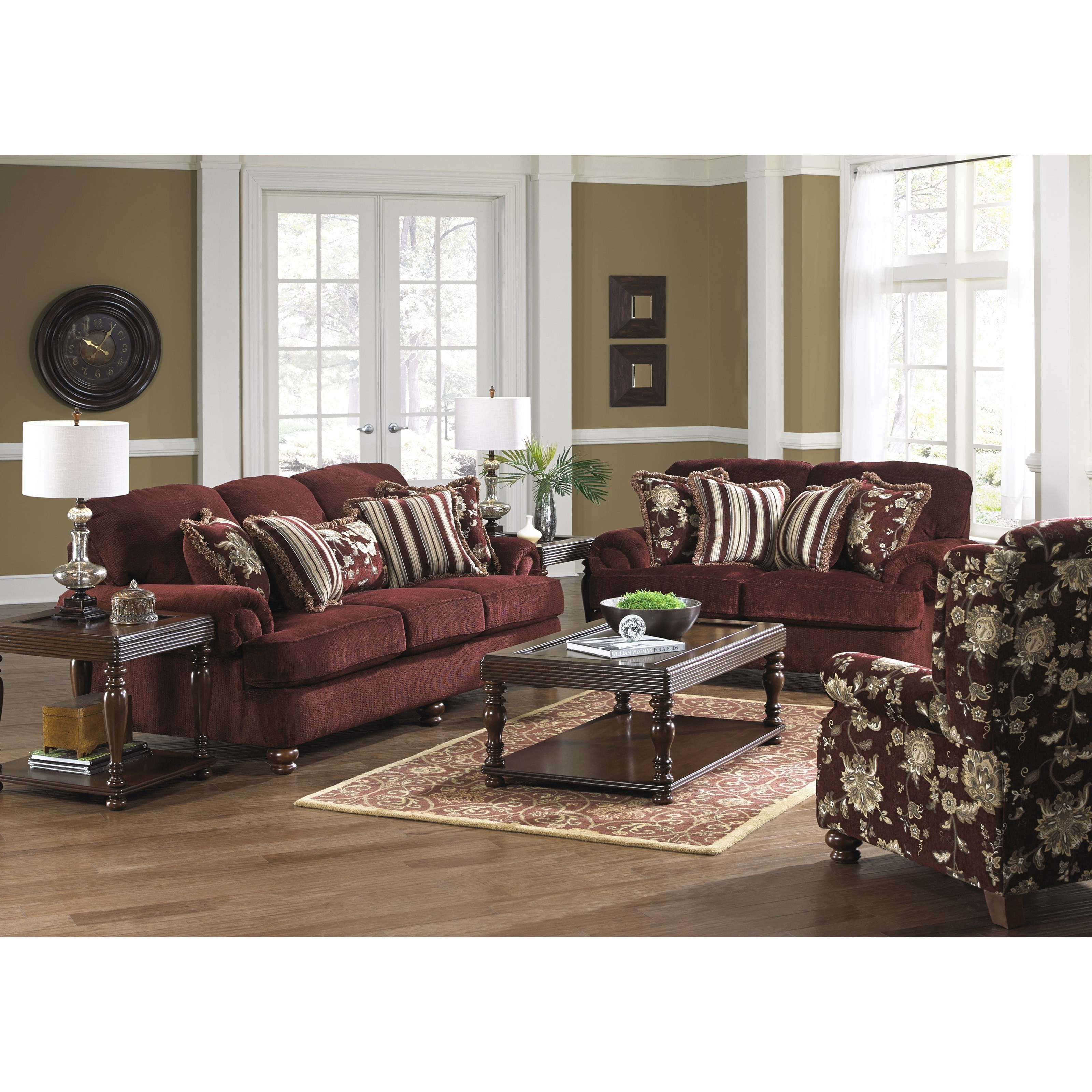 jackson furniture belmont 4347 03 sofa with rolled arms and decorative pillows efo furniture. Black Bedroom Furniture Sets. Home Design Ideas