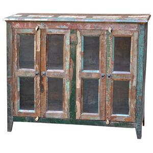 Jaipur furniture sawan rustic hand painted 2 drawer 2 door for Kitchen cabinets jaipur