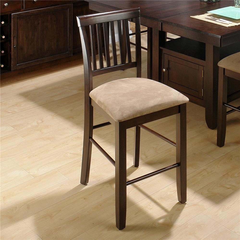 jofran bakery 39 s cherry slat back counter height stool w upholstered seat vandrie home. Black Bedroom Furniture Sets. Home Design Ideas