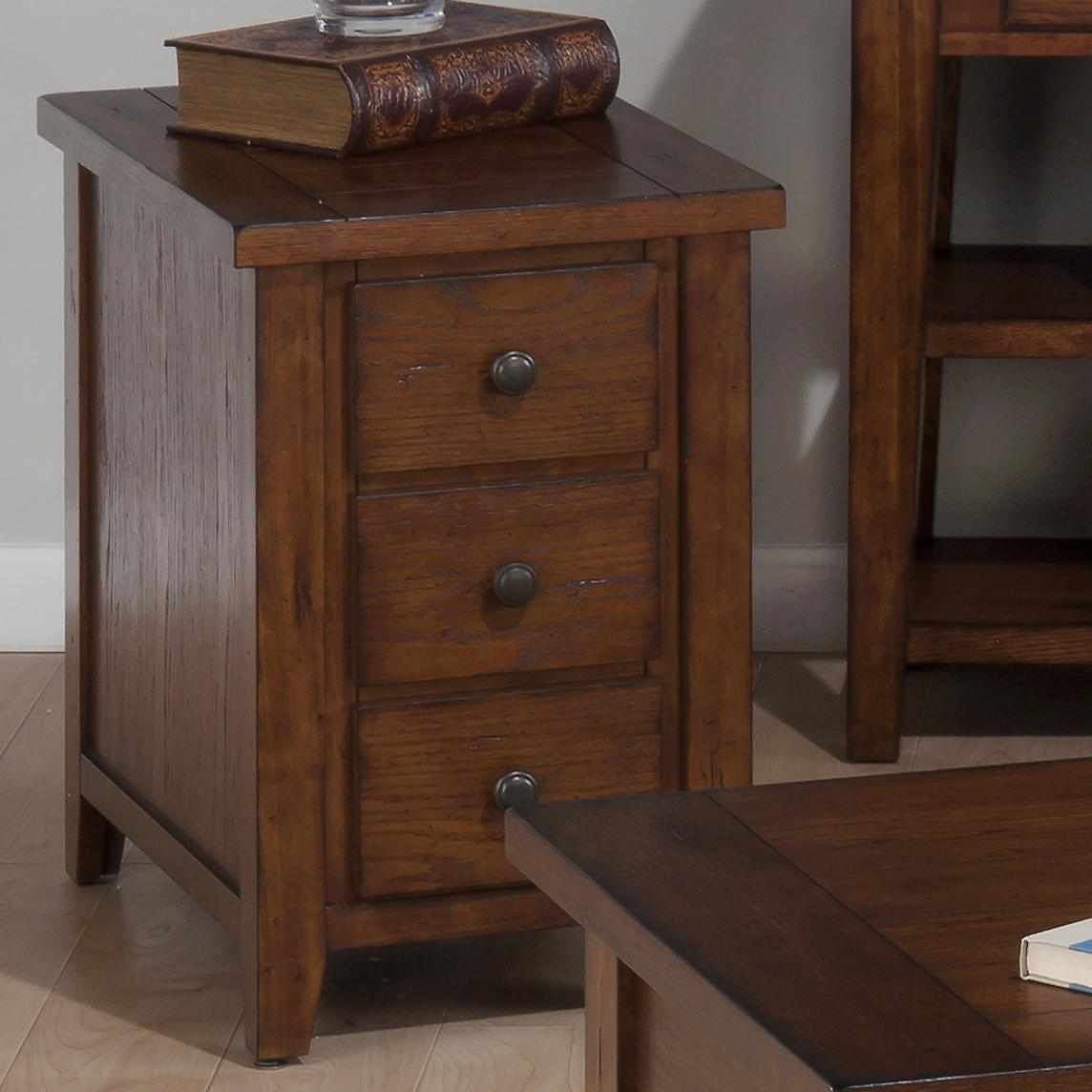 Jofran Clay County Oak 443 7 Chairside Table with 3