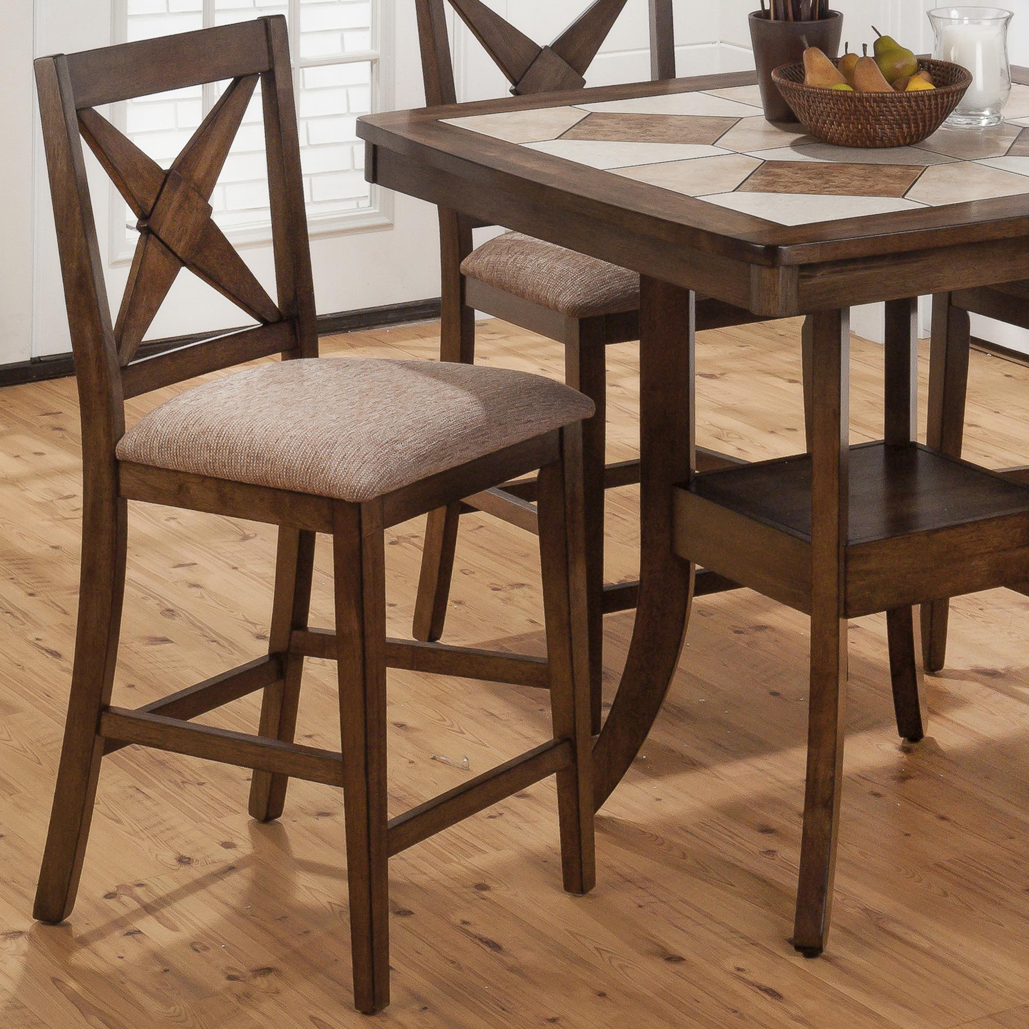 Jofran Tucson Brown 794 Bs221kd Counter Height X Back Stool With Padded Seat Furniture And