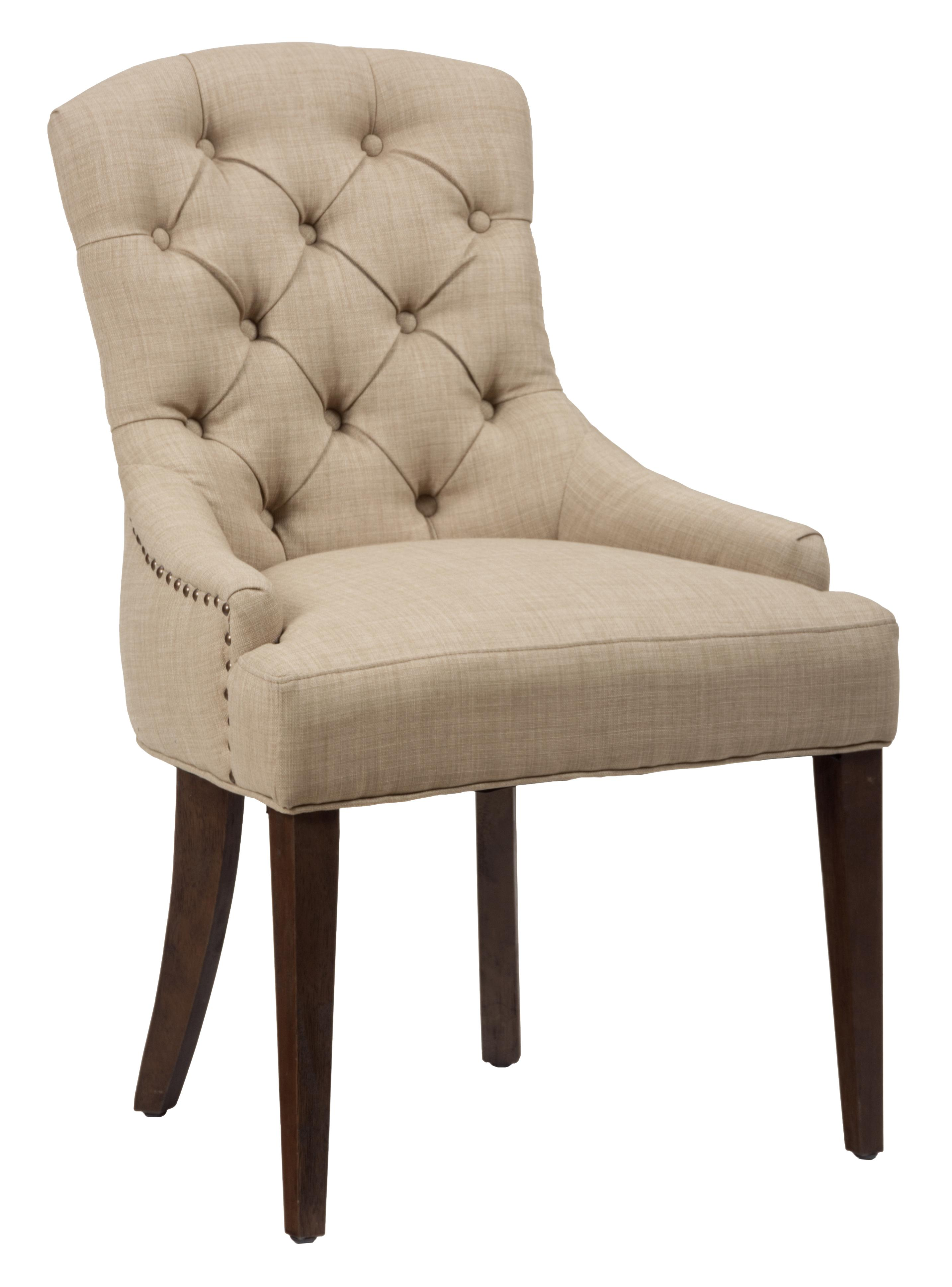 Evelyn upholstered side chair with tufted back rotmans for Upholstered dining room side chairs