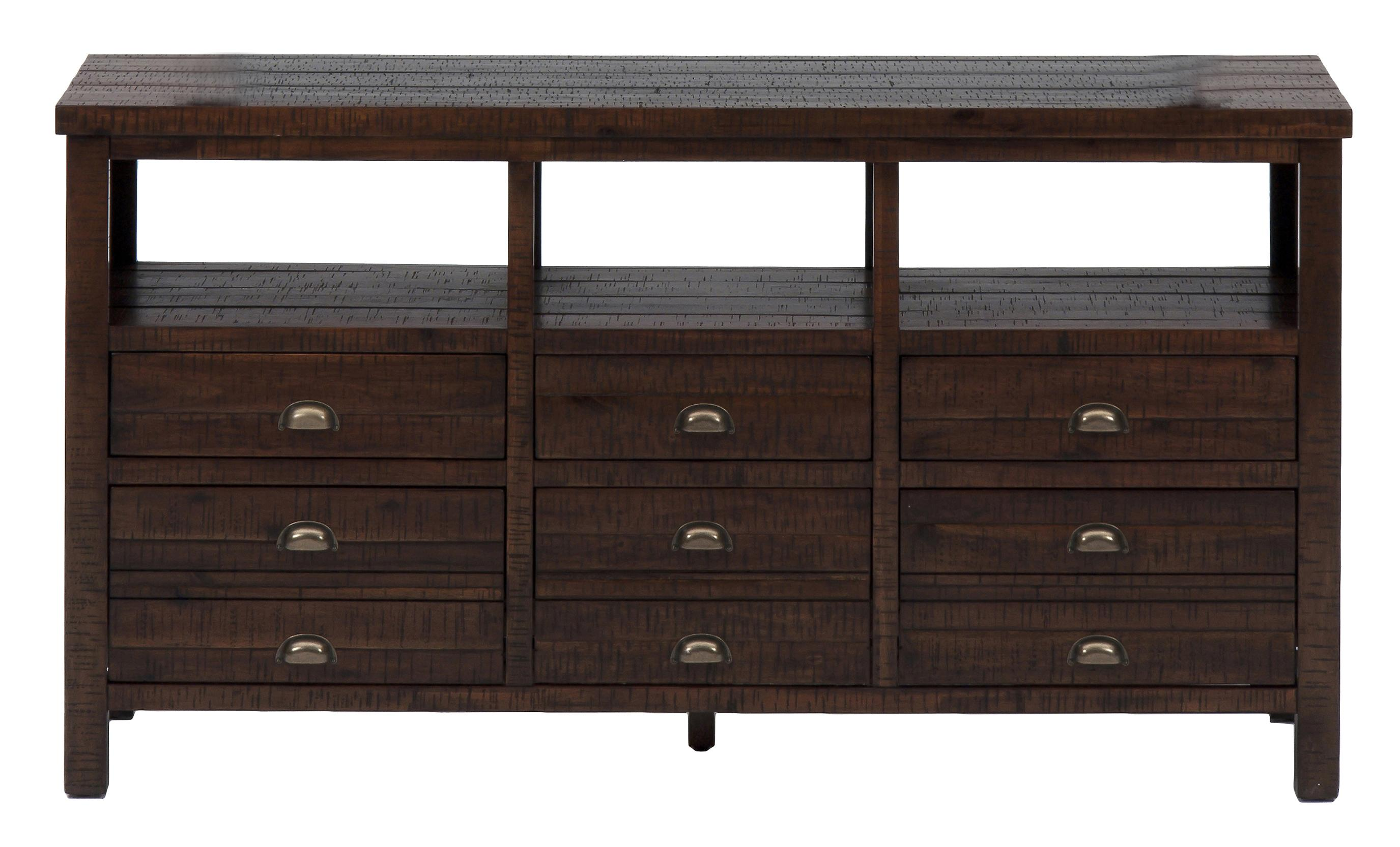 Jofran urban lodge brown 60 console with six drawers for for Bedroom furniture 30144