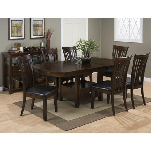 jofran mirandela birch storage dining table 6 slat back side chairs