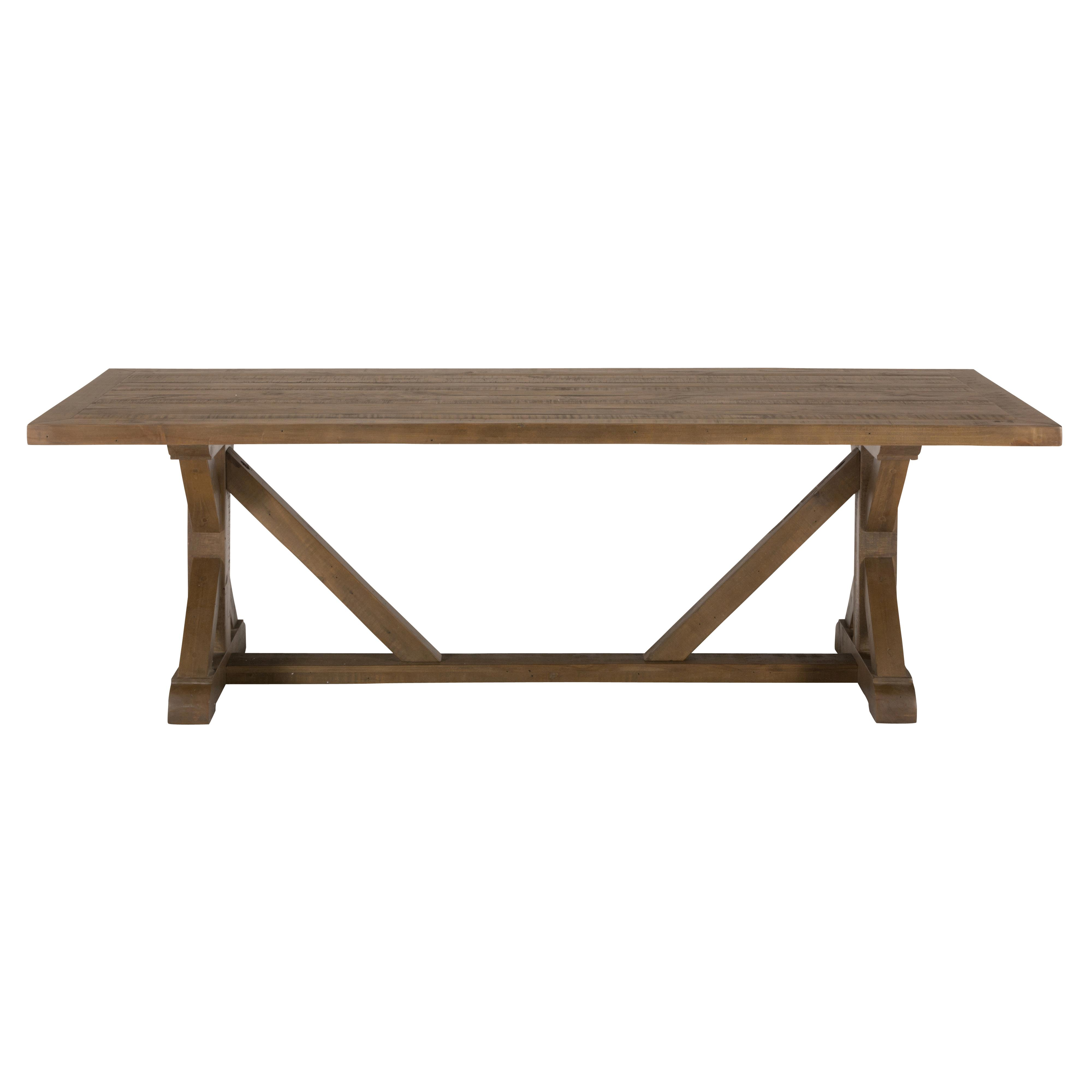 Jofran somis reclaimed pine trestle dining table reeds for Trestle dining table