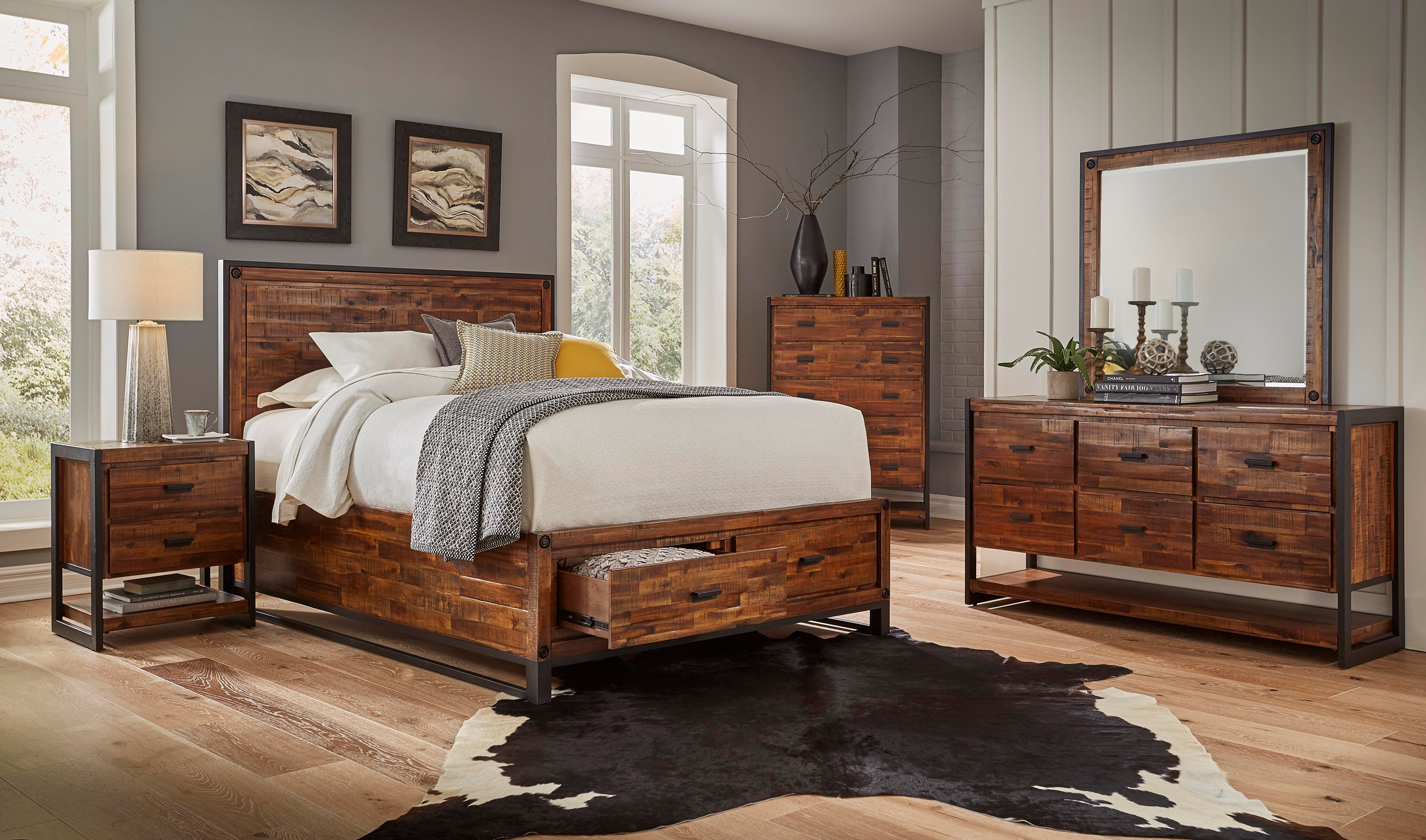 Jofran loftworks queen size bed with 2 storage drawers vandrie home furnishings panel beds Home furniture queen size bed