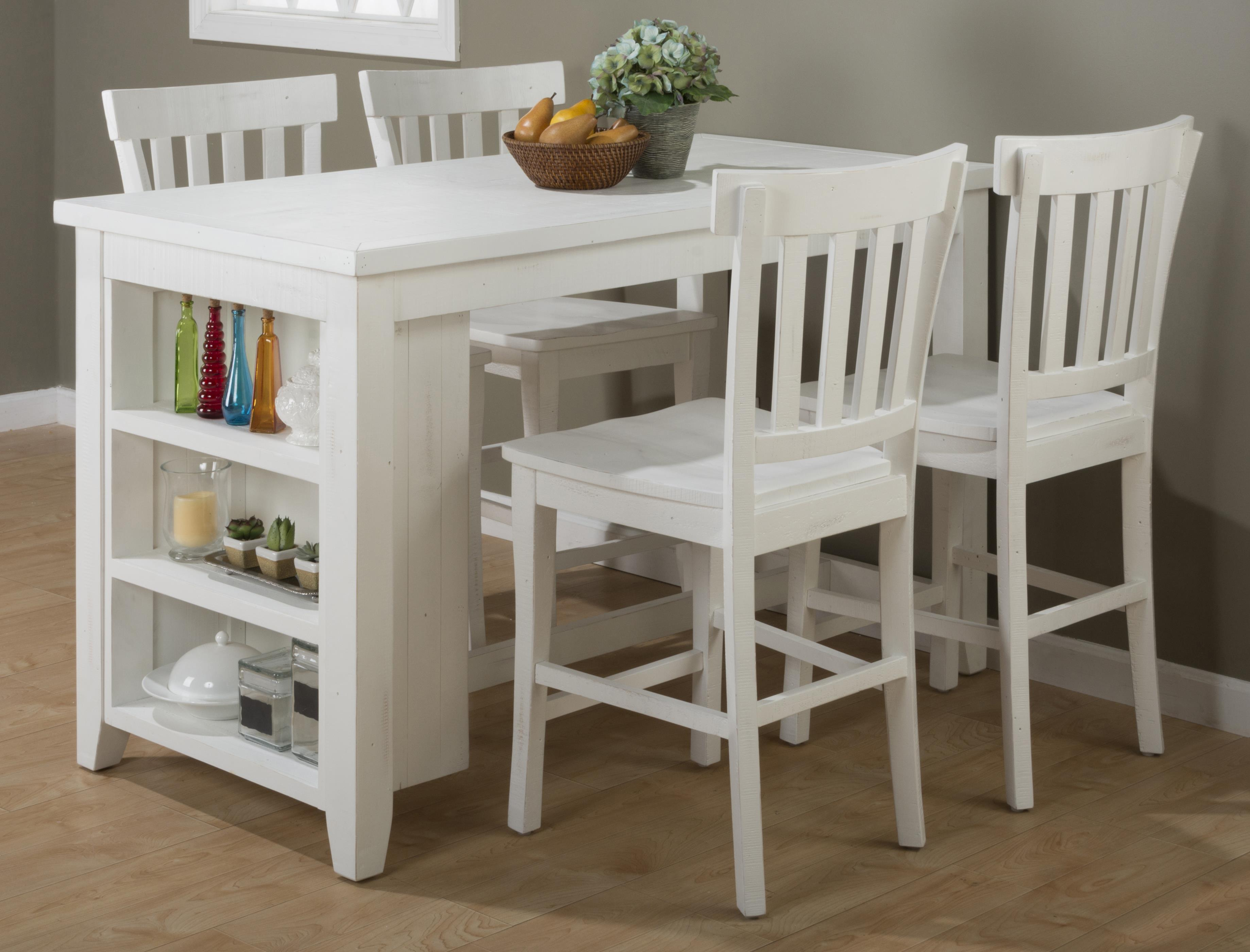 Madaket Reclaimed Pine Counter Height Table Set With 3 Shelf Storage Belfor