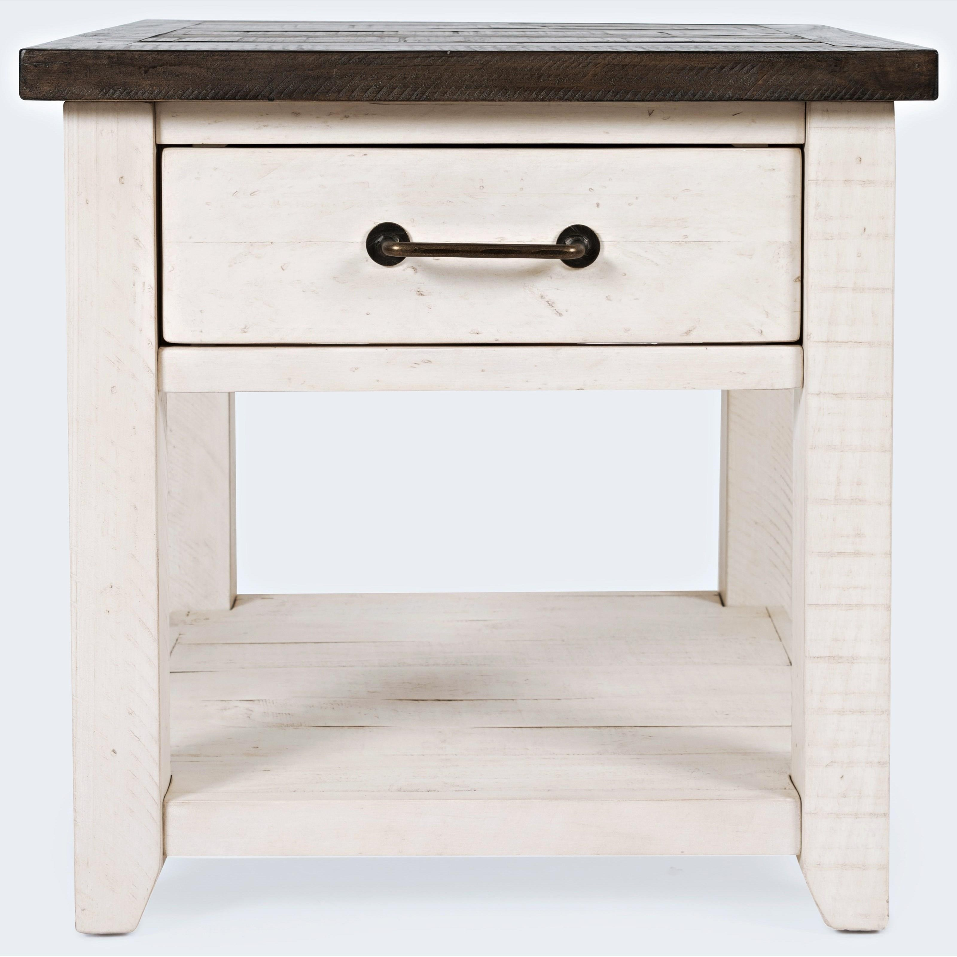 Madison County End Table-Vintage White by Jofran at Mueller Furniture