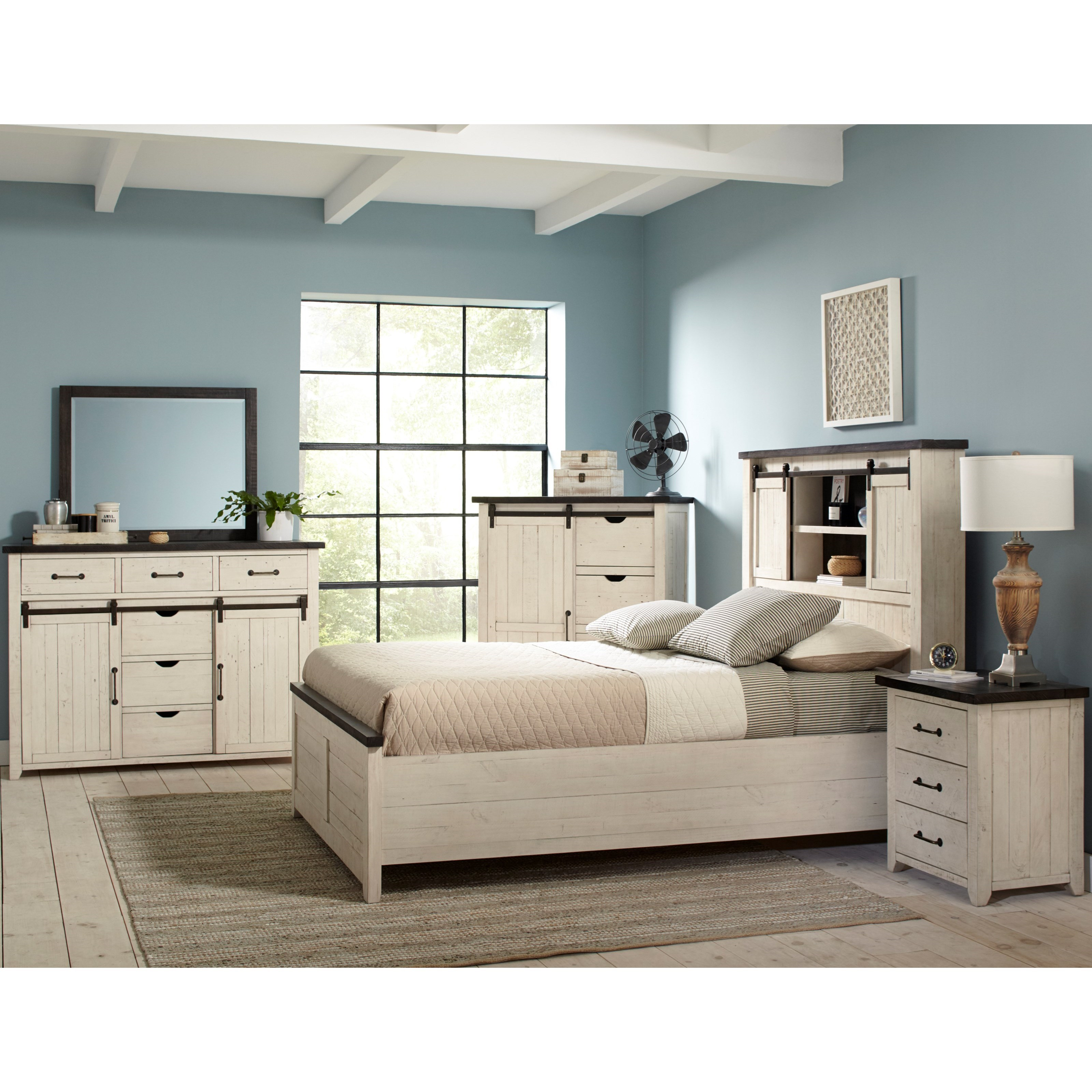 Canton White 5 Piece Queen Bedroom Group at Walker's Furniture
