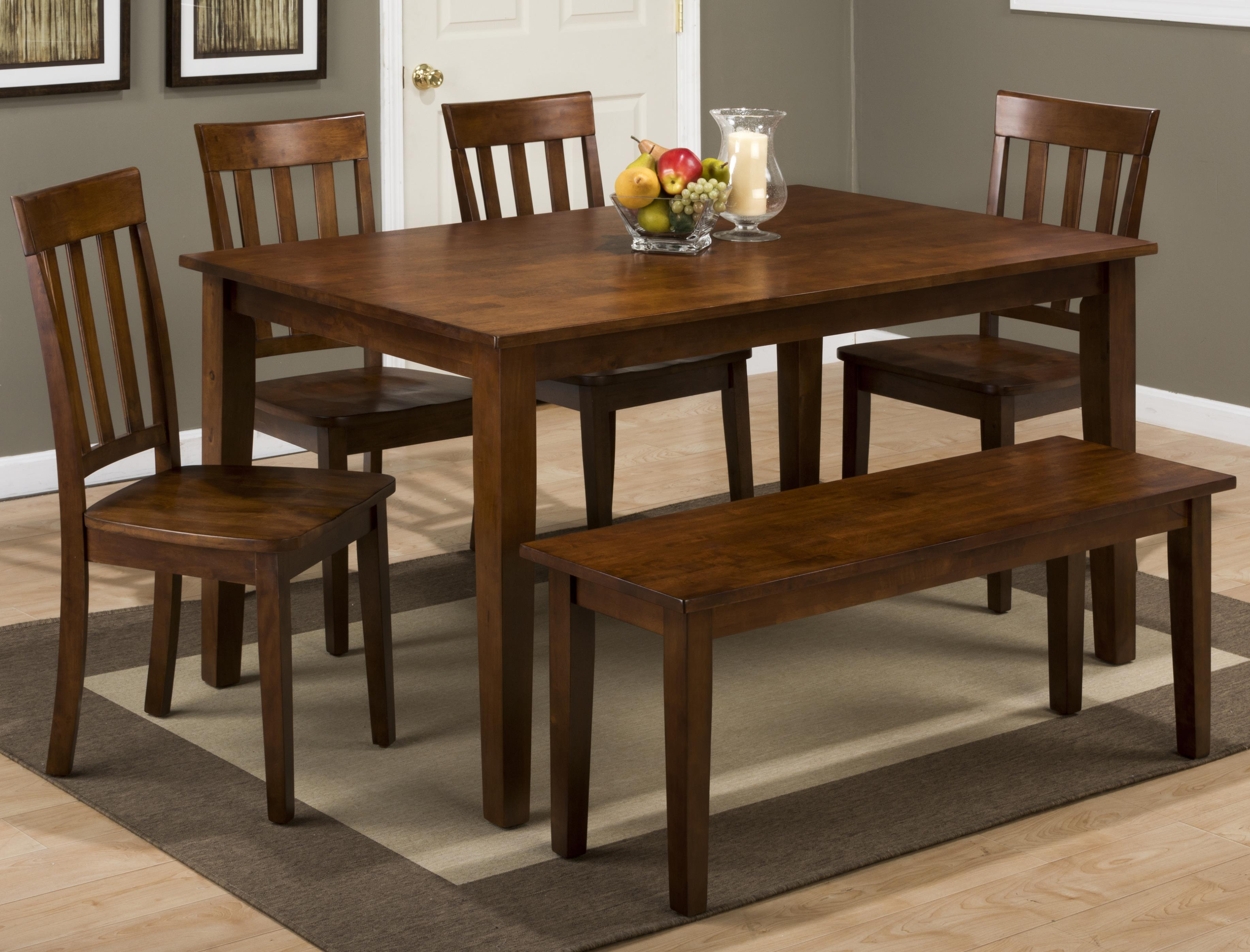 3x3x3 caramel rectangle dining table and x back chair set with bench rotmans table. Black Bedroom Furniture Sets. Home Design Ideas