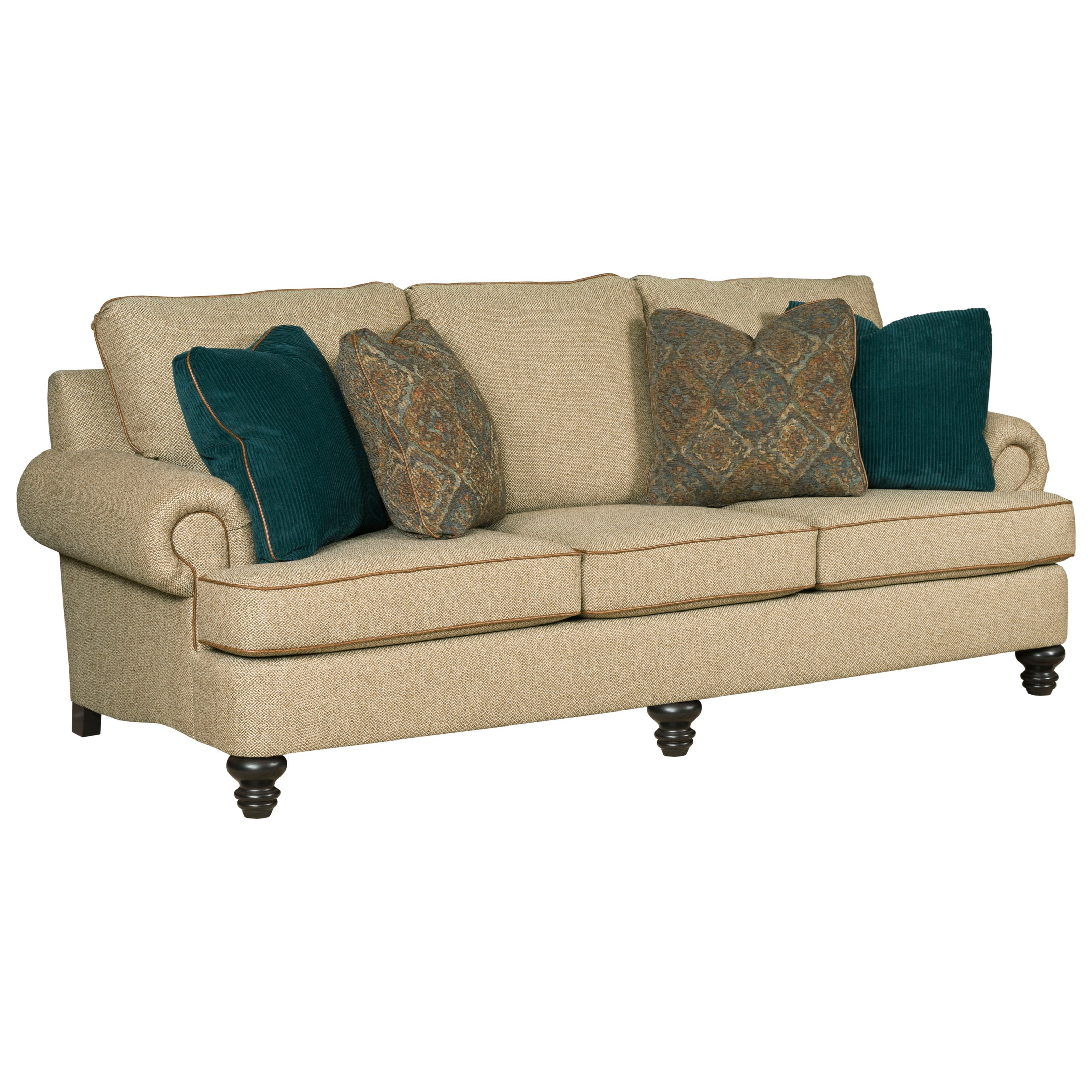 Kincaid furniture avery traditional 94 grand sofa with for Traditional sofas with legs