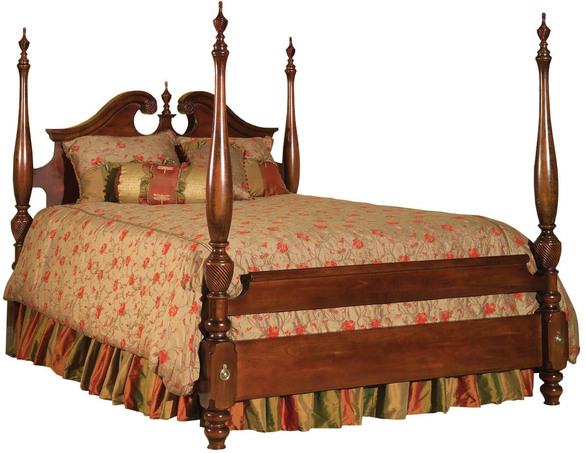 Rice Bed Four Poster Rice Carved Mahogany Queen Full Size