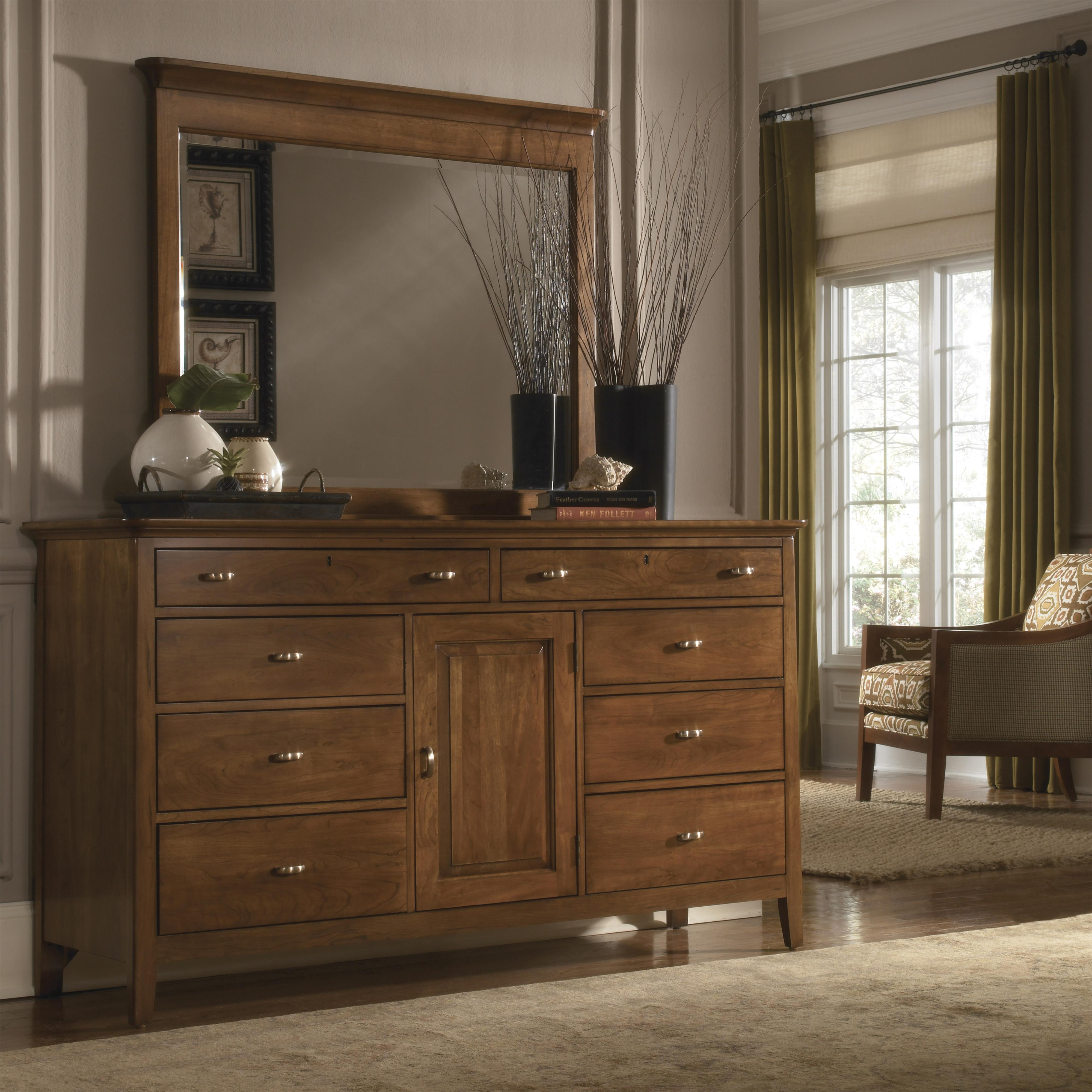 Kincaid Furniture Cherry Park Eight Drawer Dresser Landscape Mirror With Crown Molding Combo