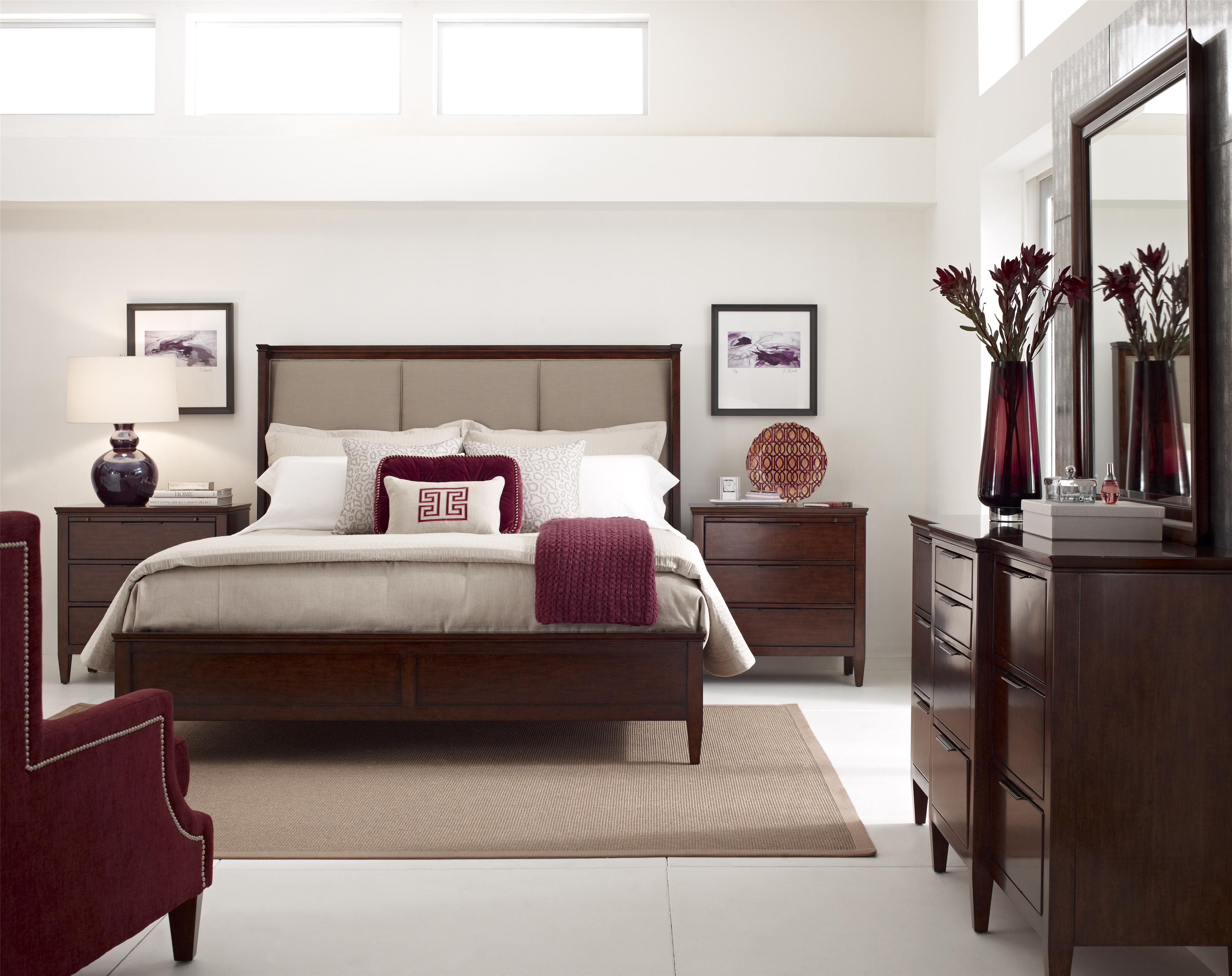 kincaid furniture elise spectrum queen upholstered bed in mushroom