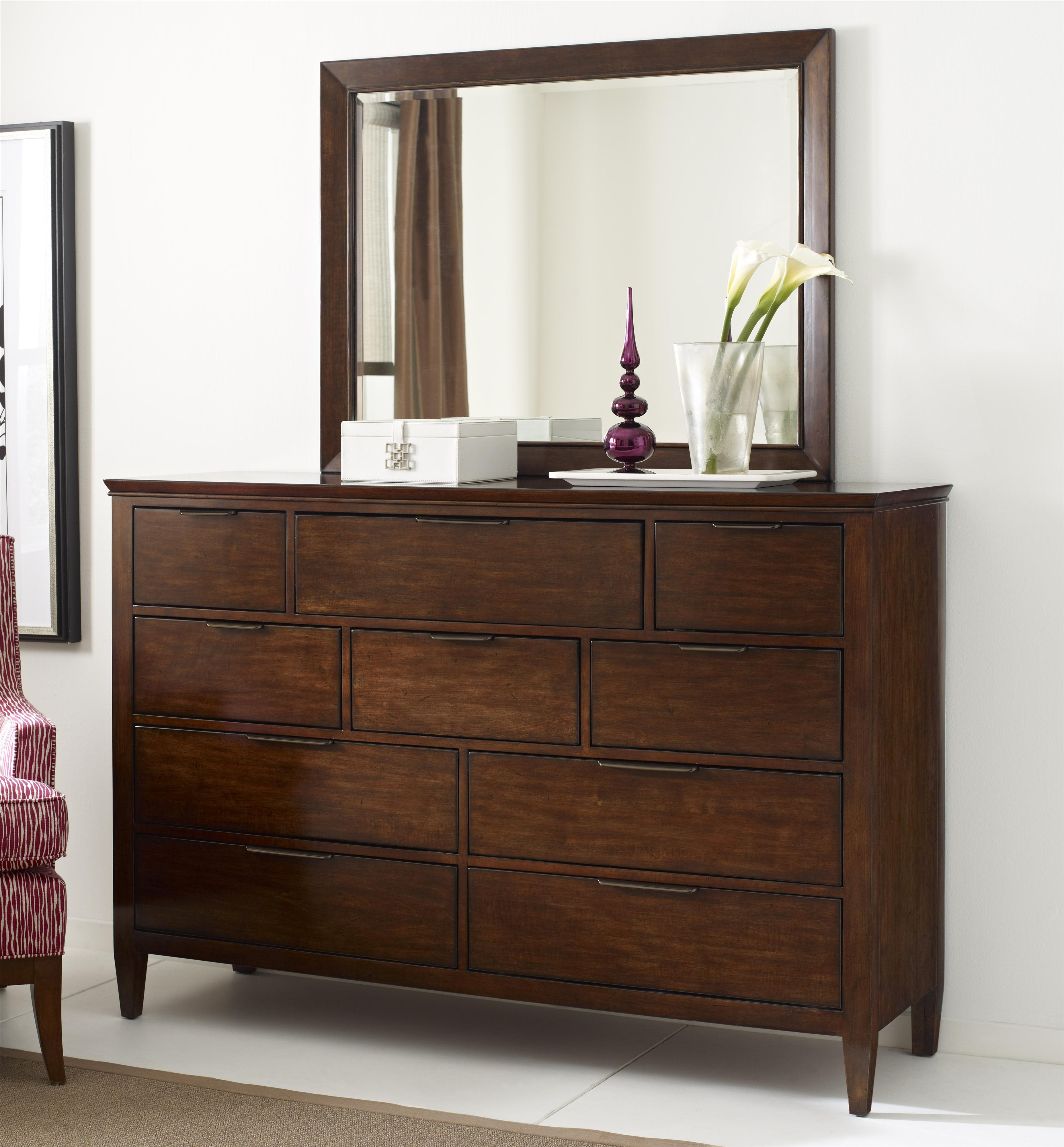 kincaid furniture elise transitional luccia bureau and mirror set with drop front media storage. Black Bedroom Furniture Sets. Home Design Ideas