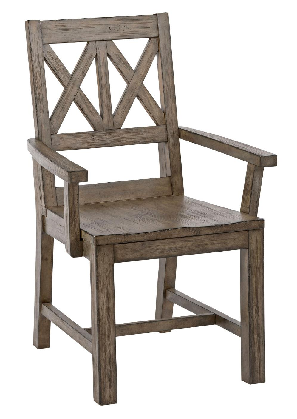 solid wood arm chair with weathered gray finish and x lattice back