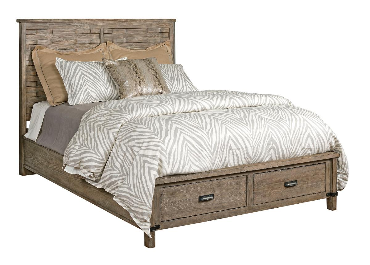 Foundry Queen Rustic Panel Bed With Storage Footboard By