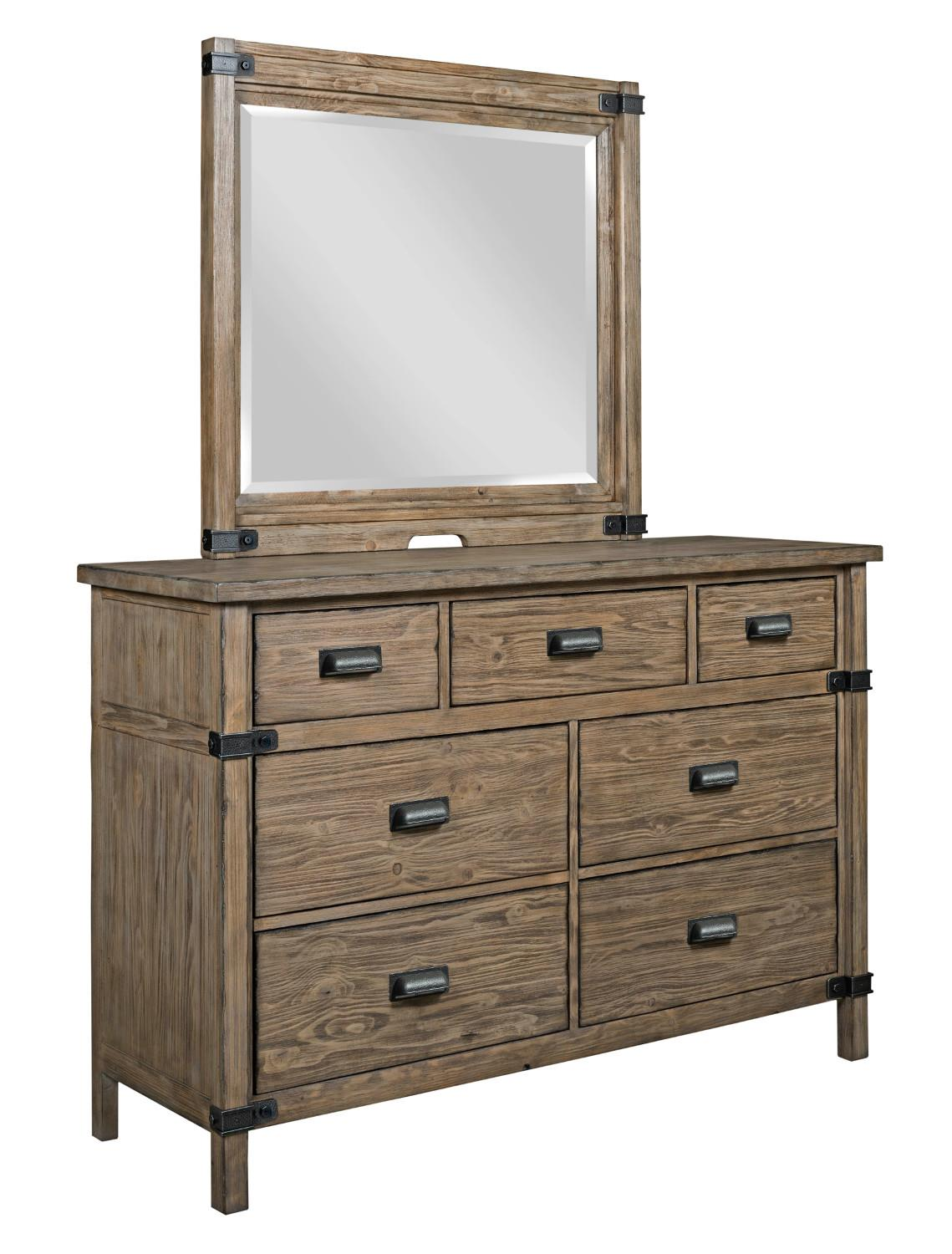 kincaid furniture foundry rustic weathered gray bureau and mirror set olinde 39 s furniture. Black Bedroom Furniture Sets. Home Design Ideas