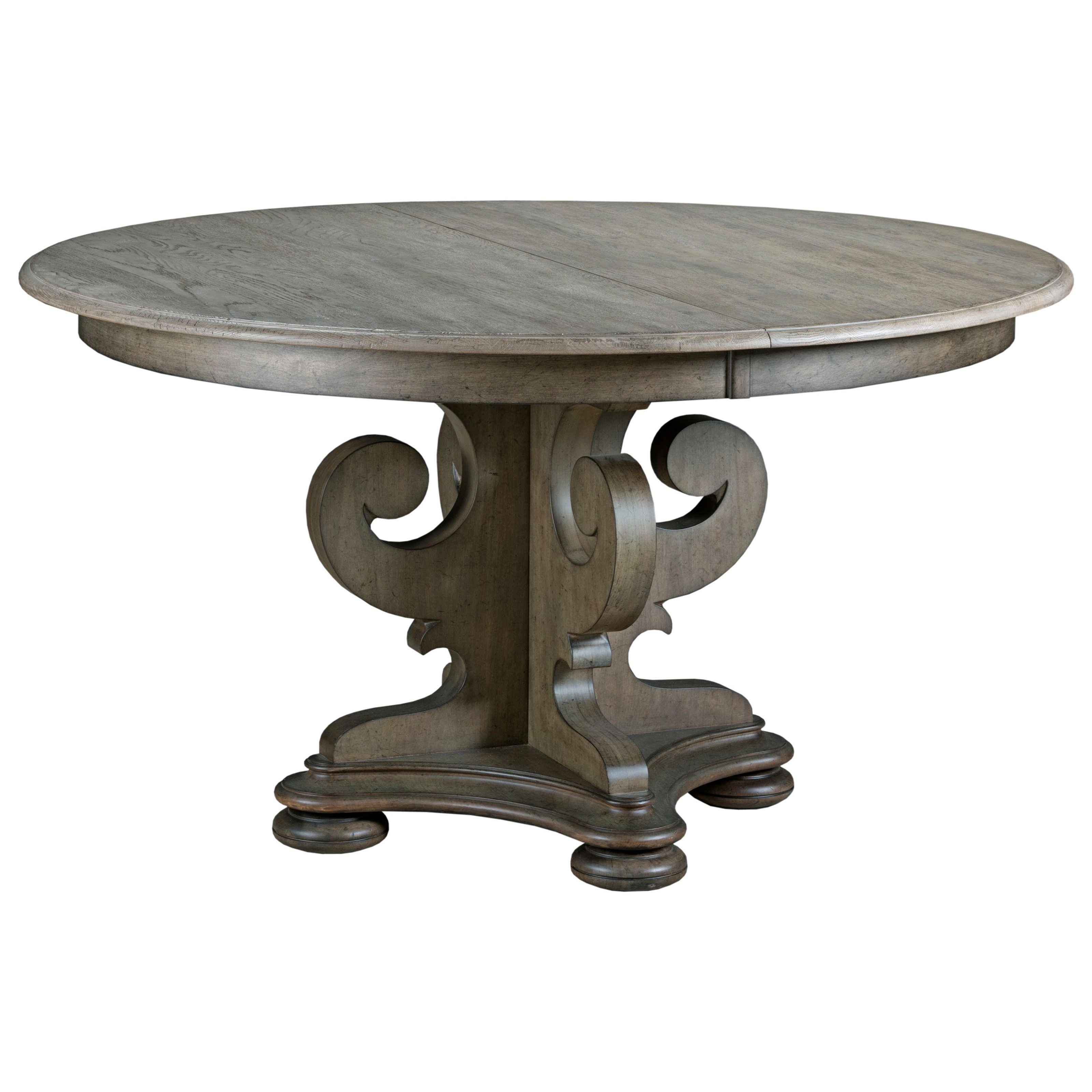 Kincaid furniture greyson 608 701p grant scrolled pedestal for Round extension dining table