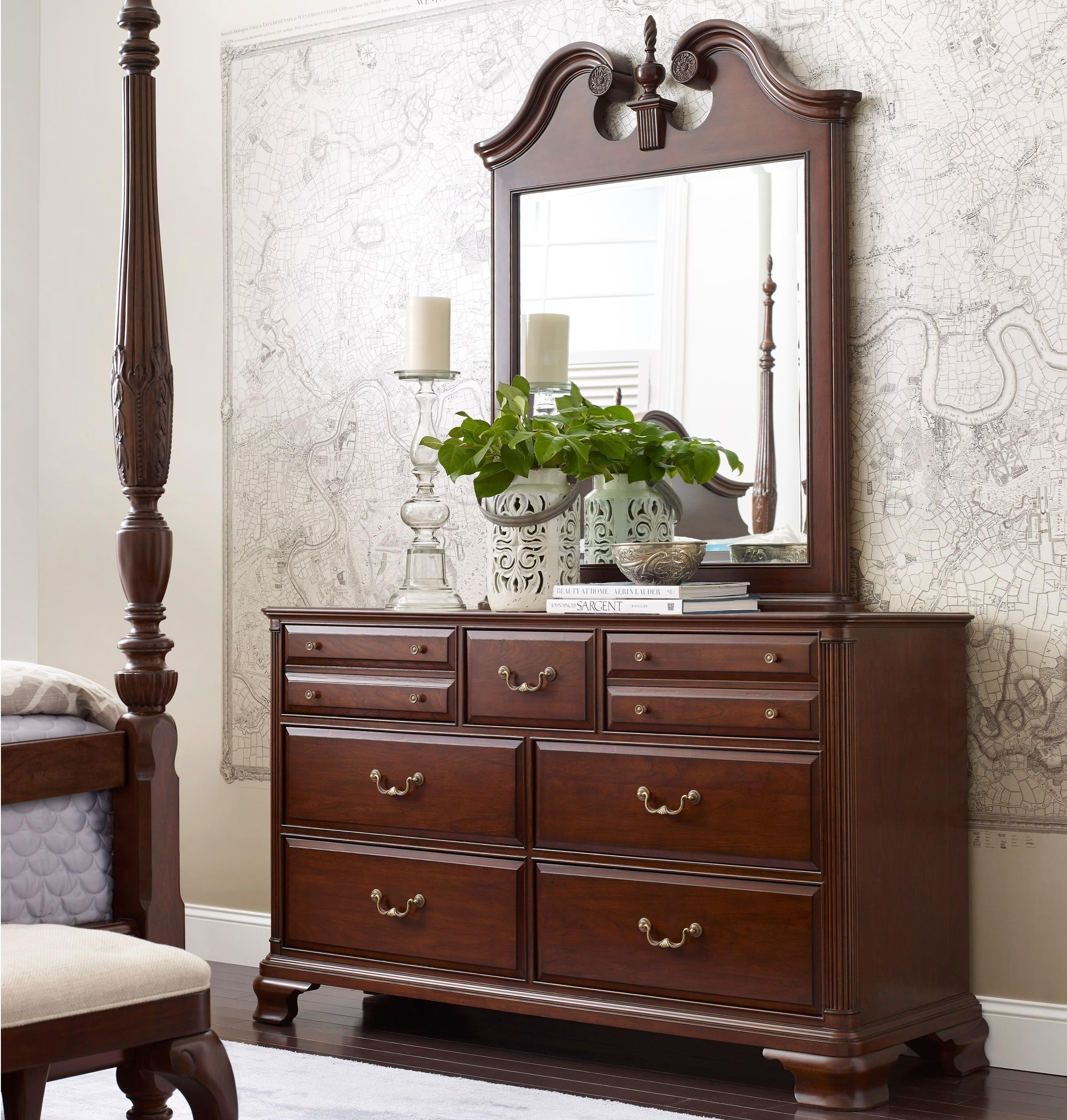 kincaid furniture hadleigh traditional dresser and mirror set with bureau and pediment mirror. Black Bedroom Furniture Sets. Home Design Ideas