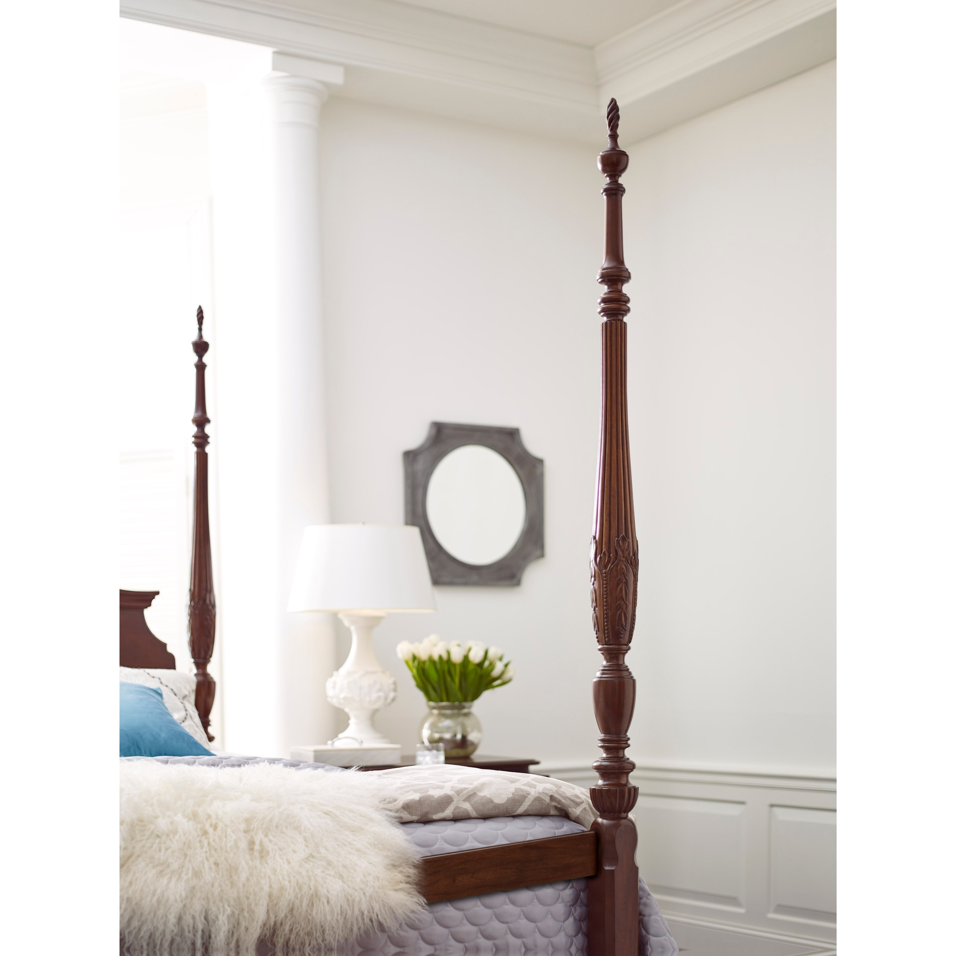 Kincaid Furniture Hadleigh 607 324p Queen Rice Carved Poster Bed With Pediment Headboard And