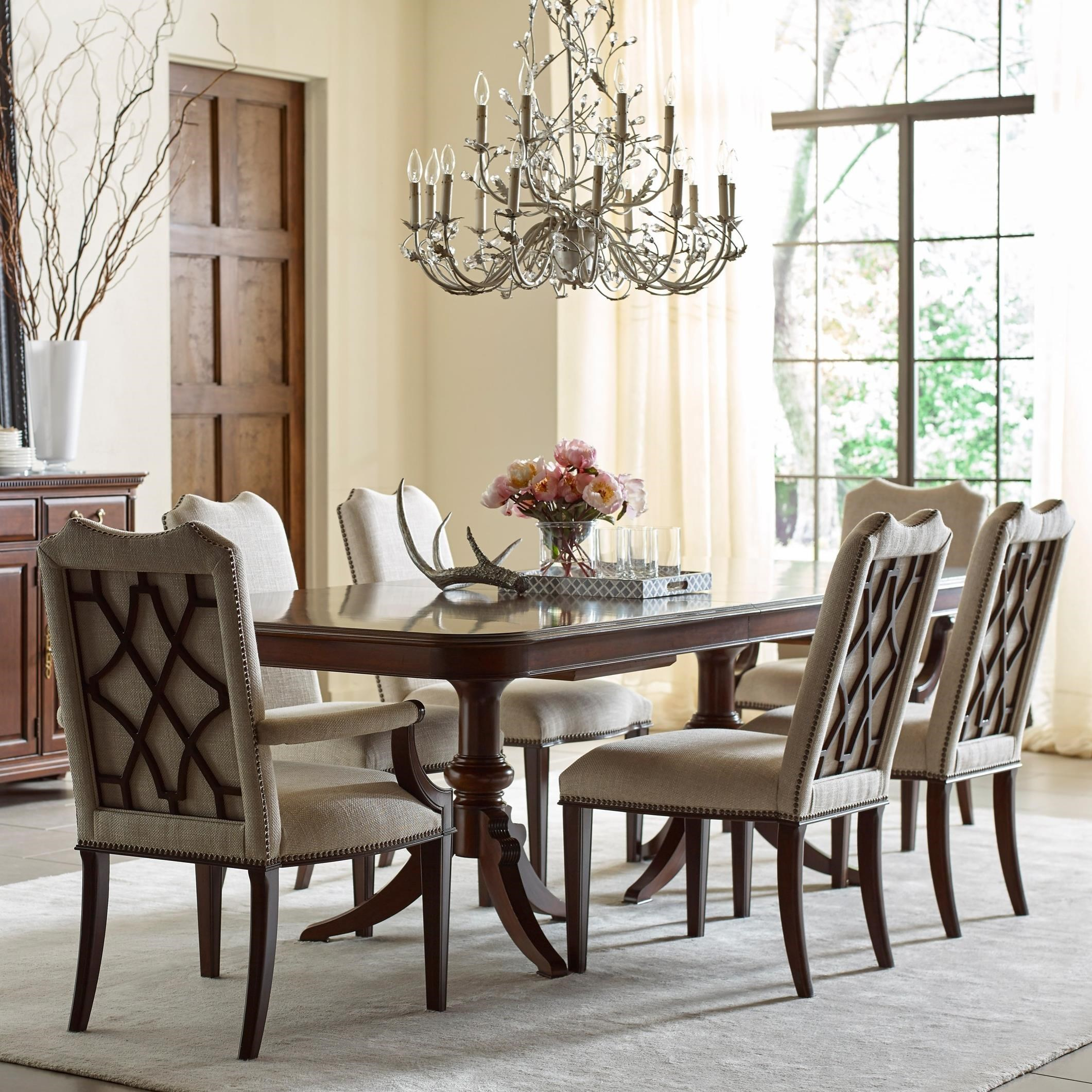 Kincaid furniture hadleigh seven piece formal dining set for Formal dining chairs