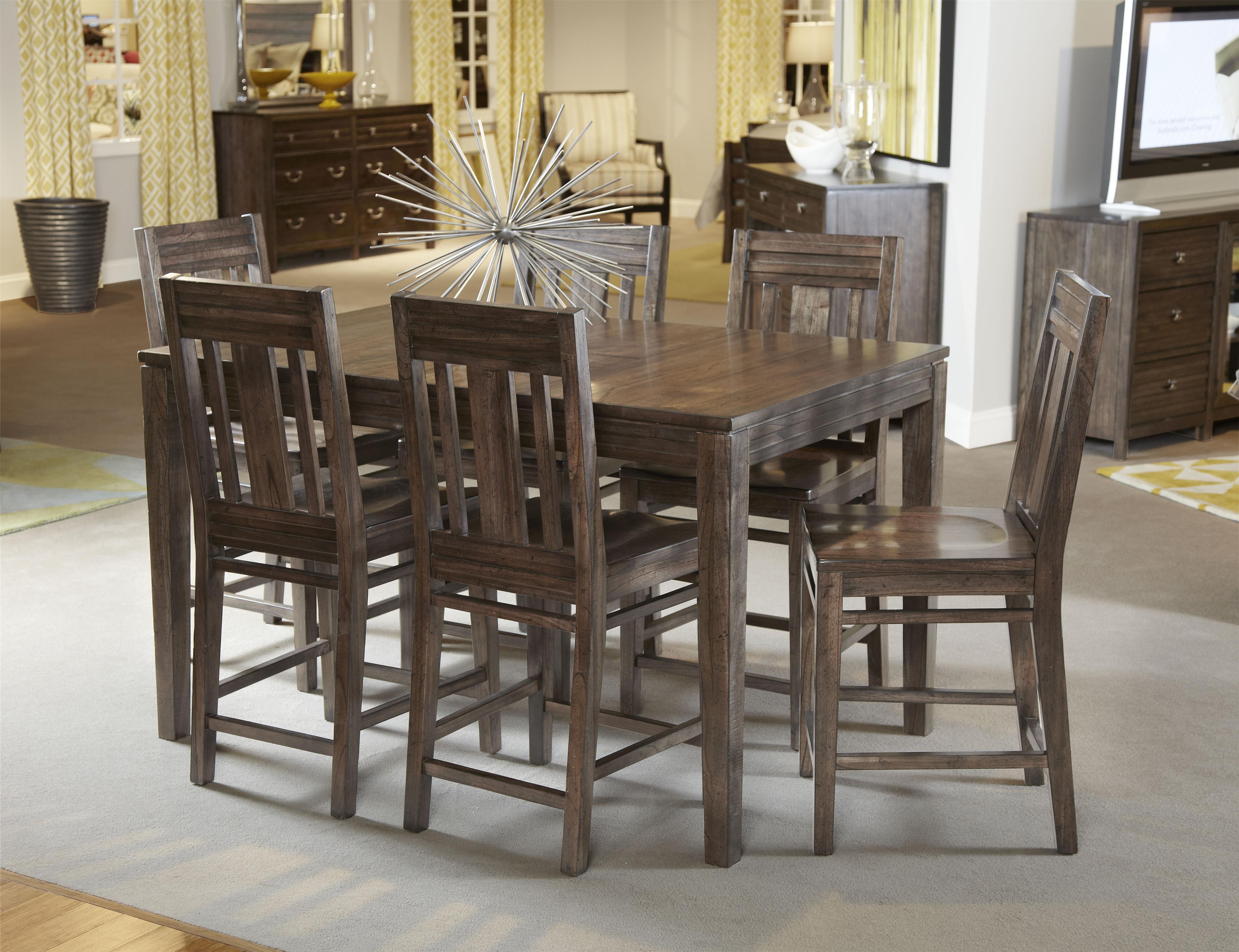 kincaid furniture montreat seven piece casual counter height dining set belfort furniture. Black Bedroom Furniture Sets. Home Design Ideas