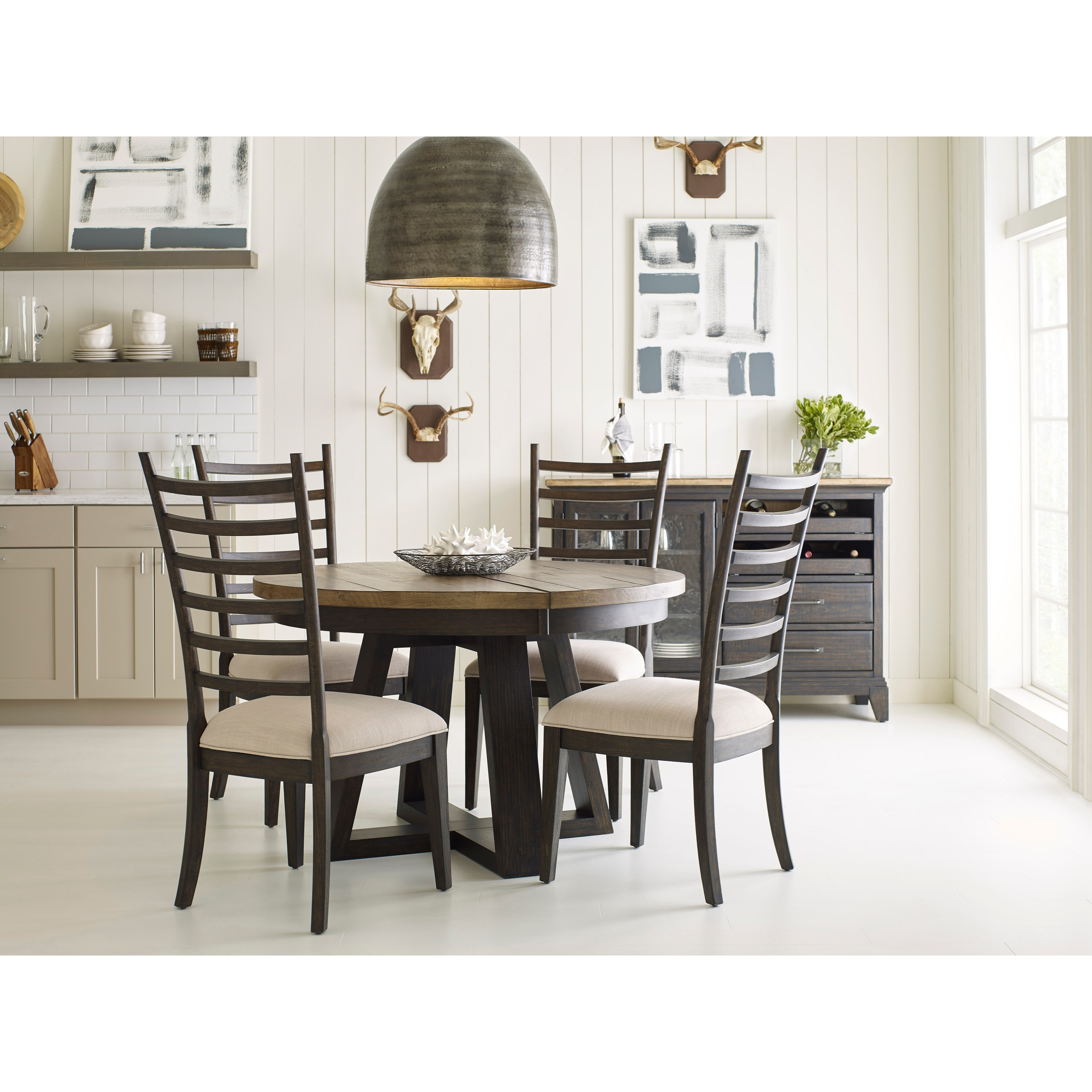 Kincaid furniture plank road casual dining room group for Casual dining room furniture