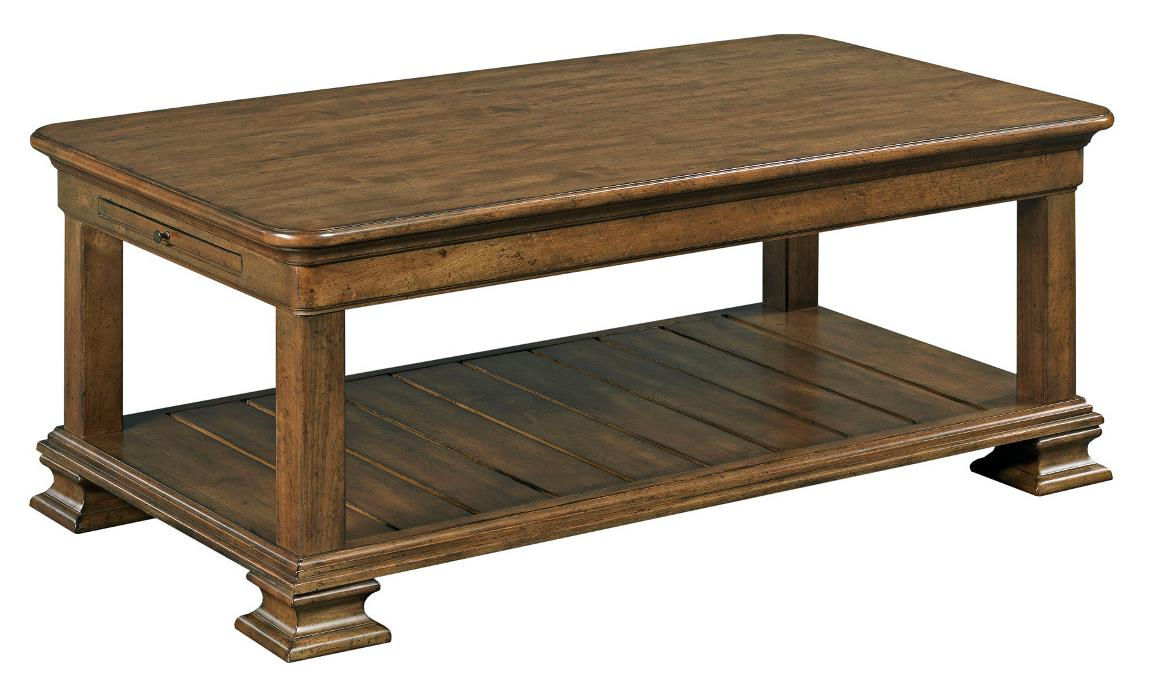 Portolone traditional rectangular solid wood cocktail for Coffee tables york pa