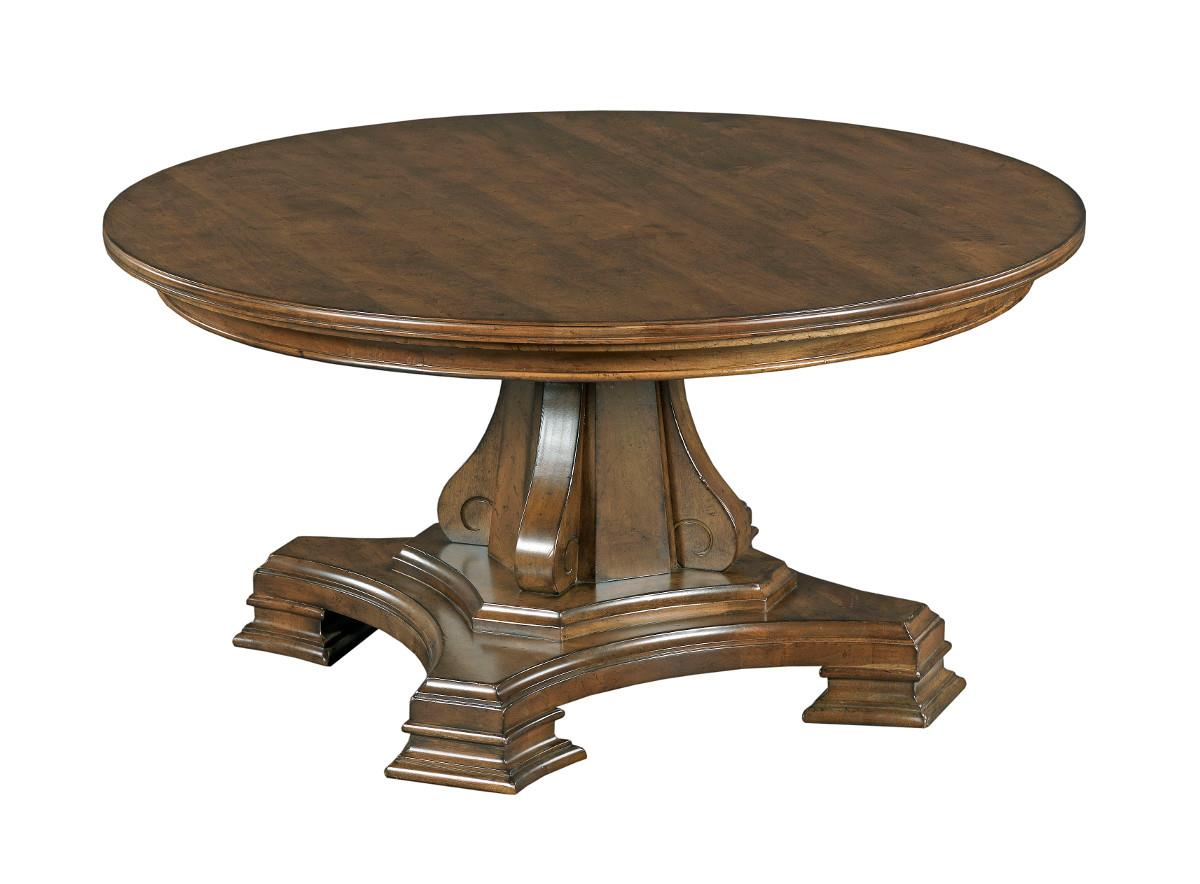 Kincaid Furniture Portolone Round Solid Wood Cocktail Table With Tuscan Inspired Carved Pedestal
