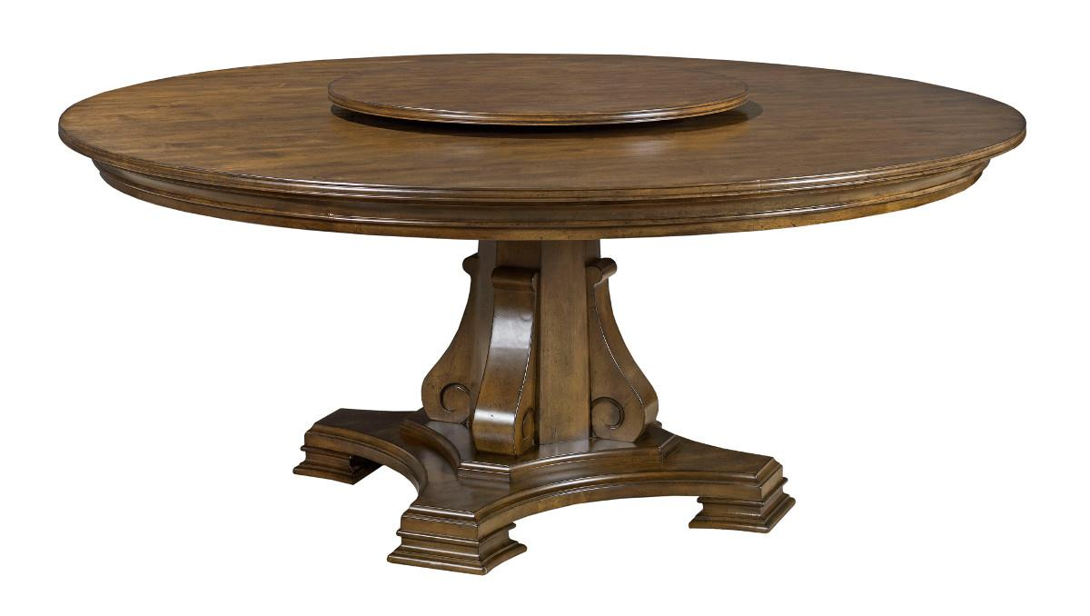 kincaid furniture portolone stellia 72 round solid wood dining table with carved wood pedestal. Black Bedroom Furniture Sets. Home Design Ideas