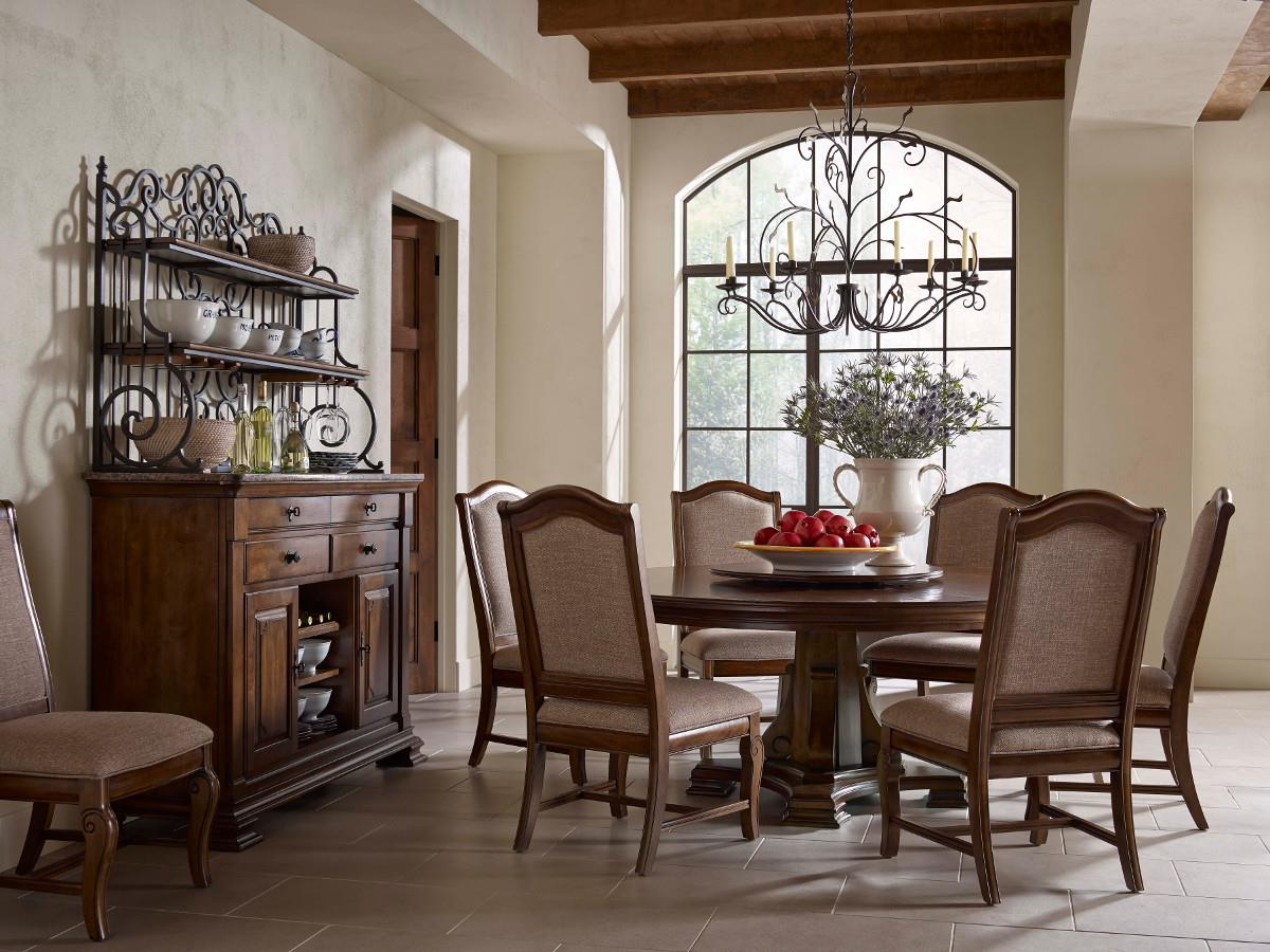 portolone stellia 72 round solid wood dining table with carved wood