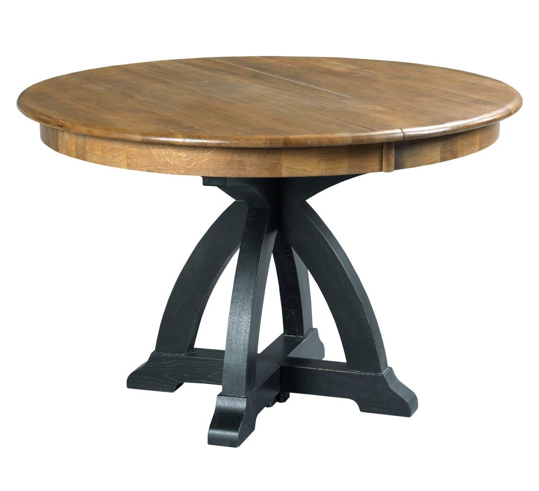 Kincaid furniture stone ridge transitional rustic round for Rustic round kitchen table
