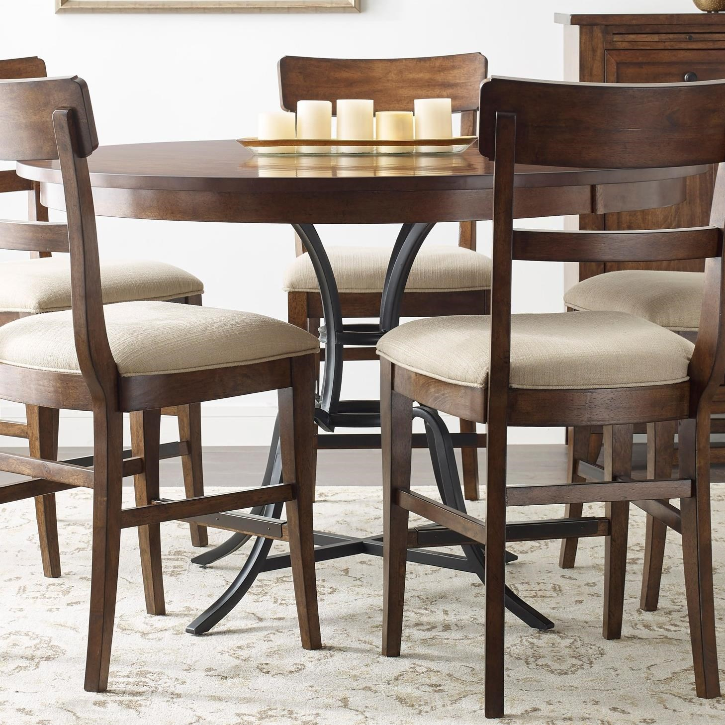 kincaid furniture the nook 54 round solid wood counter height table with rustic metal base. Black Bedroom Furniture Sets. Home Design Ideas