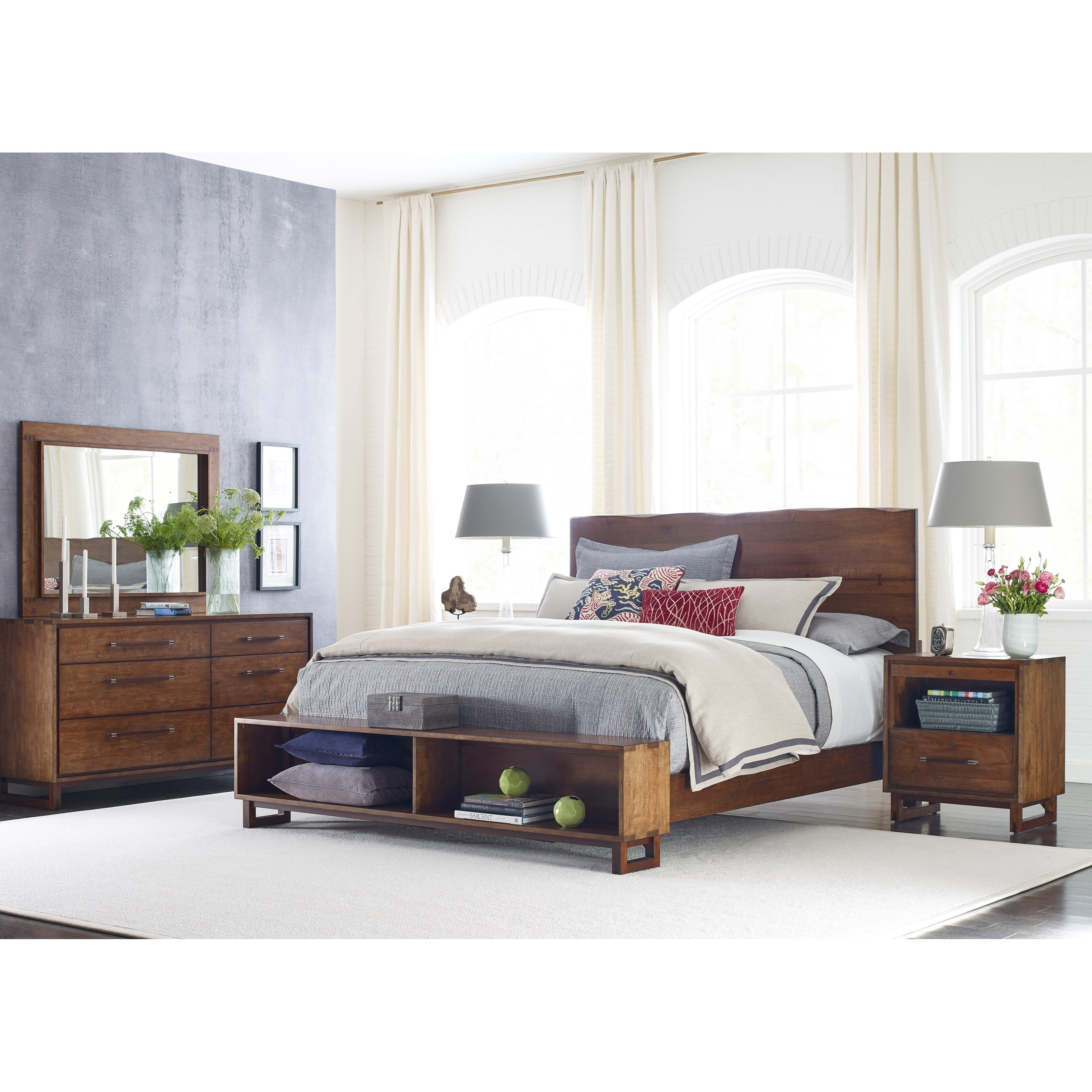 kincaid furniture traverse craftsman queen size live edge bed with storage footboard belfort. Black Bedroom Furniture Sets. Home Design Ideas
