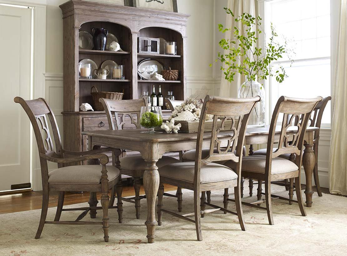 kincaid furniture weatherford 7 piece dining set with canterbury table and quatrefoil back. Black Bedroom Furniture Sets. Home Design Ideas
