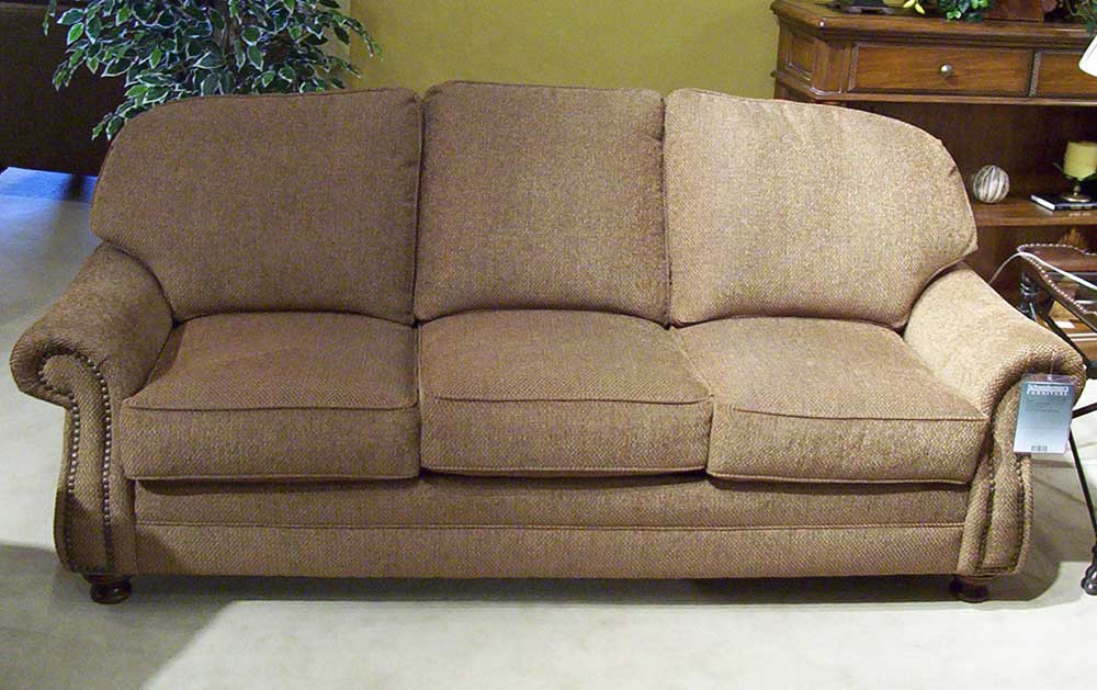 King hickory 9000 88 semi attached back sofa with turned for Settee without back