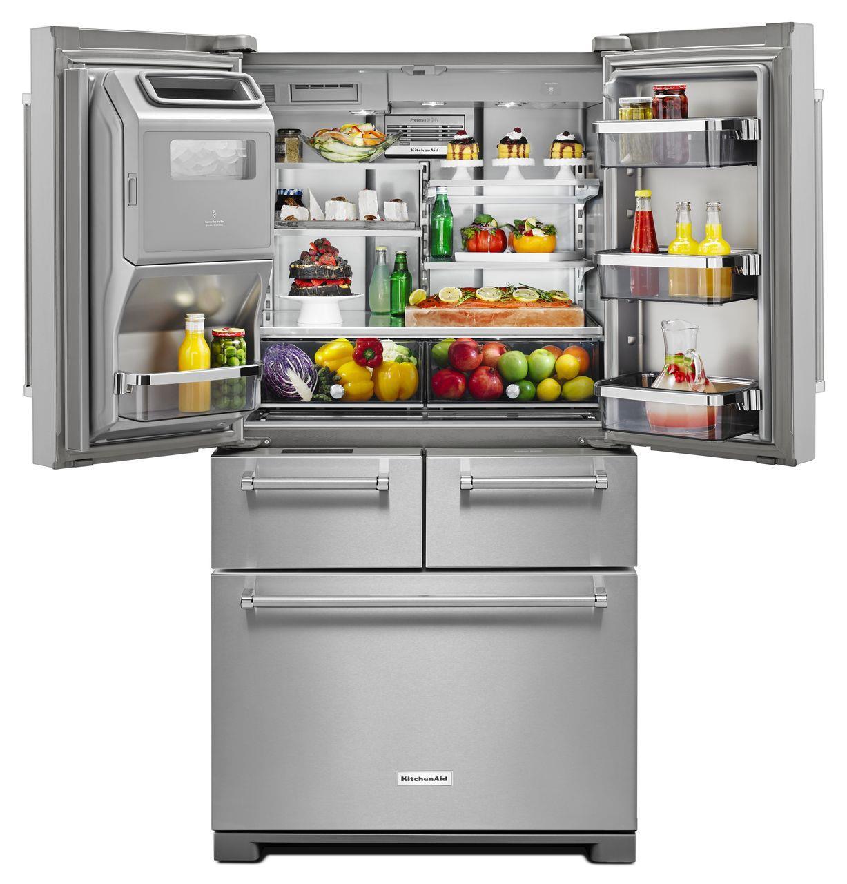 Kitchenaid krmf706ess25 8 cu ft 36 multi door freestanding refrigerator with platinum for Platinum interior refrigerator