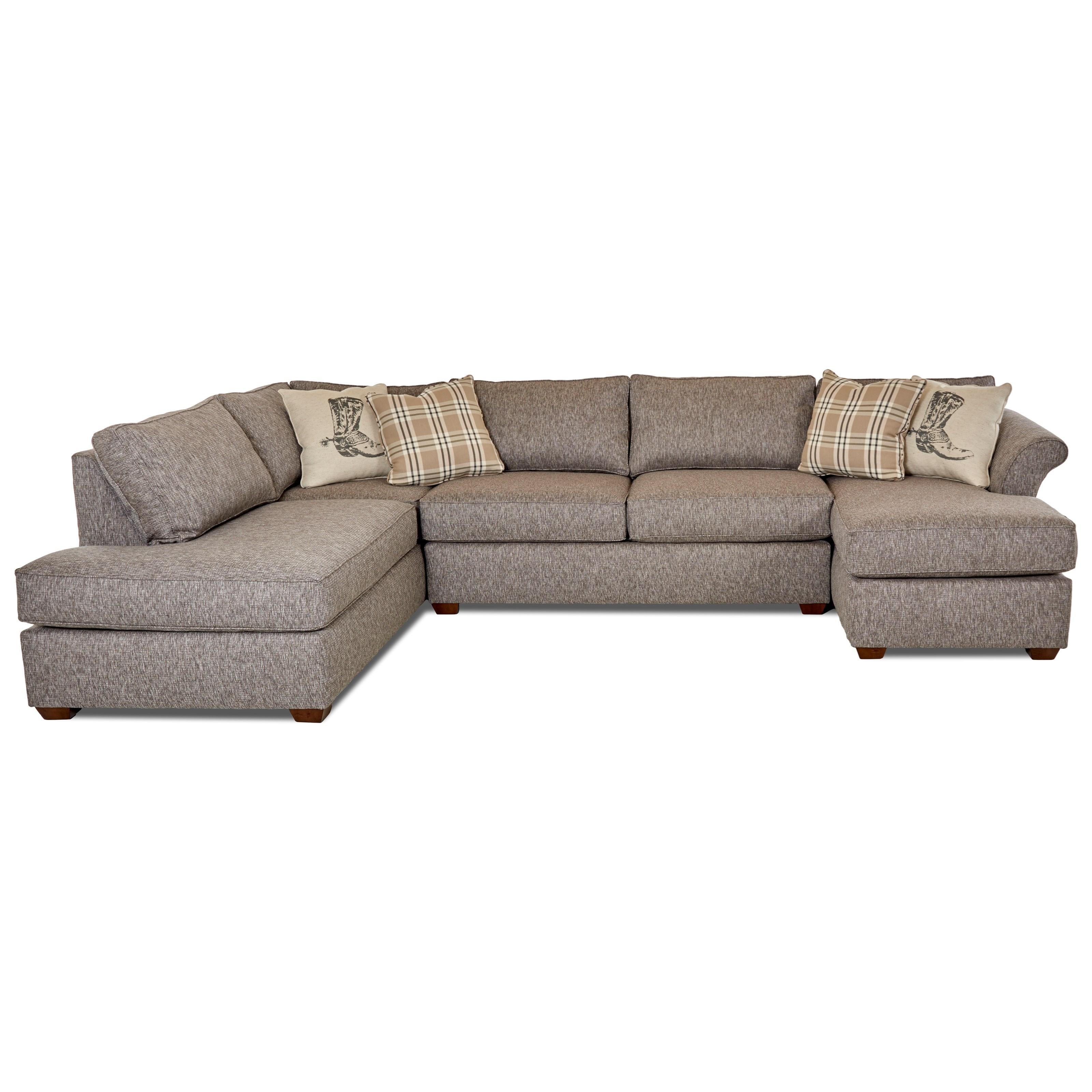 Klaussner jaxon three piece sectional sofa with flared for 3 piece sectional sofas with chaise