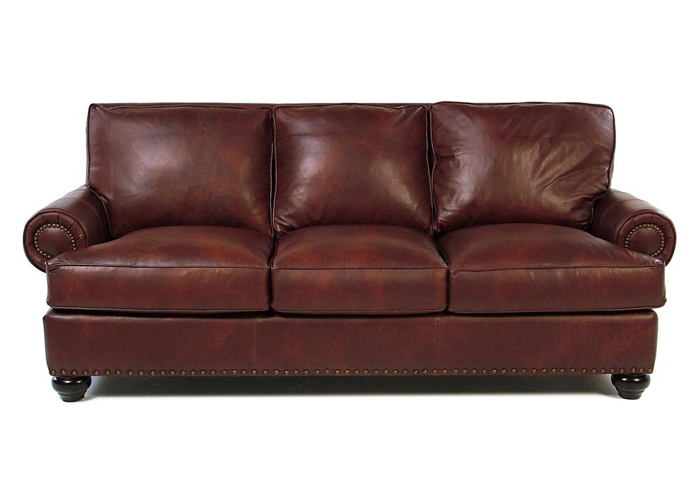 Danbury Leather Sofa w Nailhead Trim Rotmans Sofa