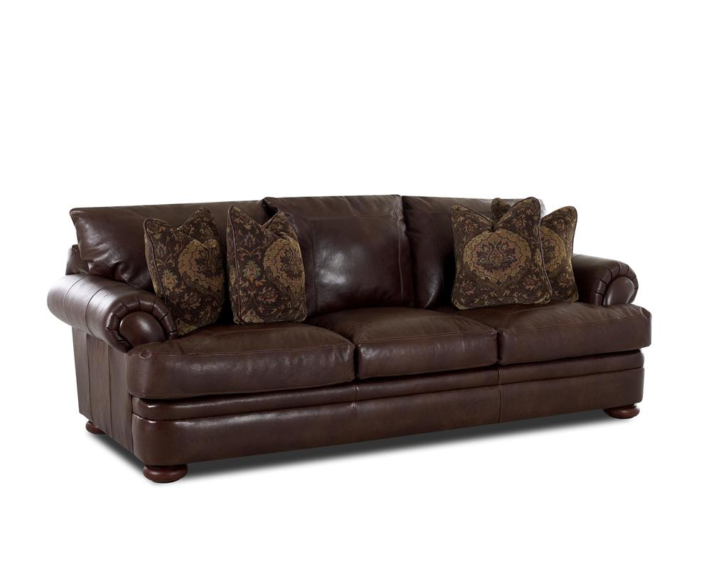 Klaussner montezuma casual style leather sofa with bun for 8 foot couch