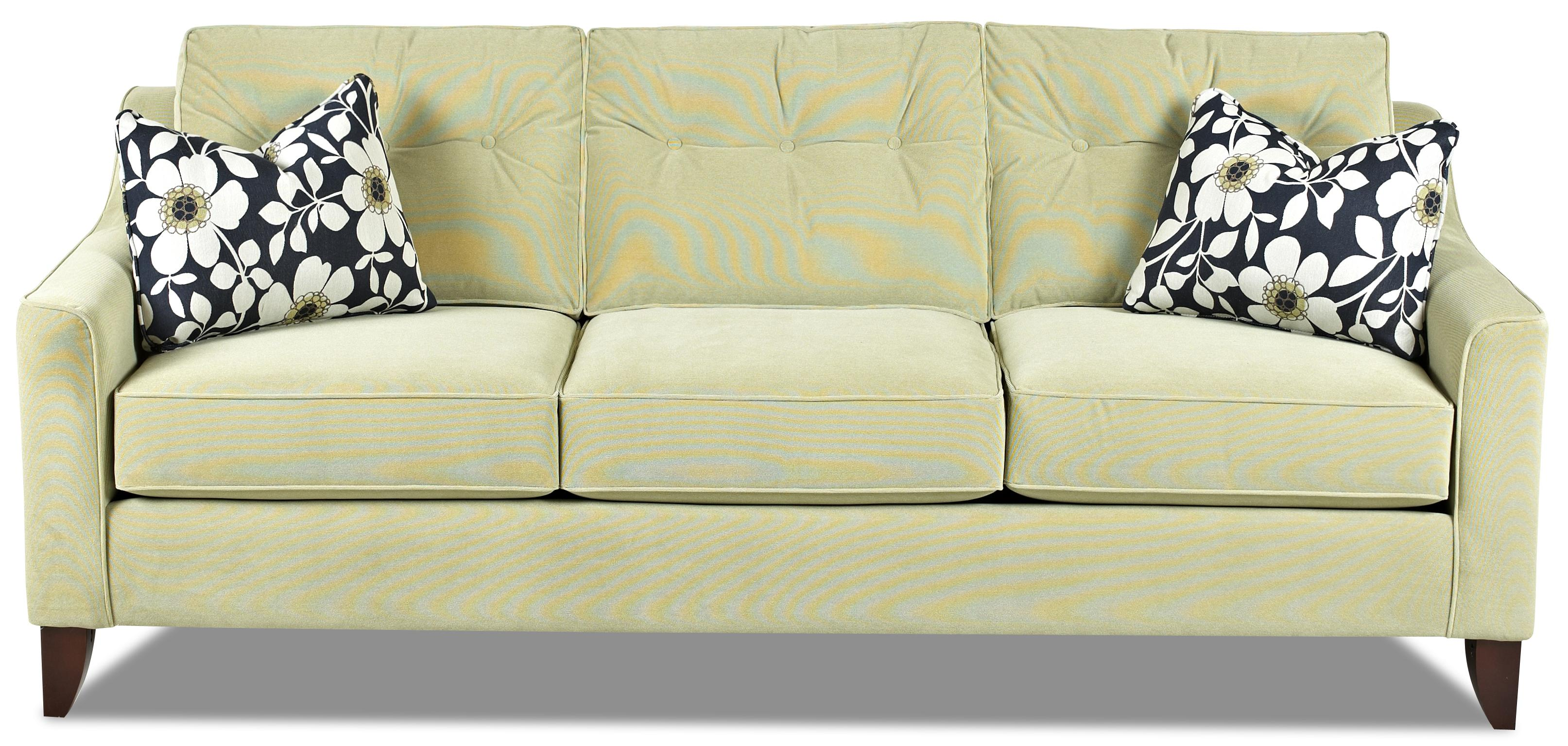 Klaussner rhea mid century modern style sofa with tufted for Designer sofa outlet