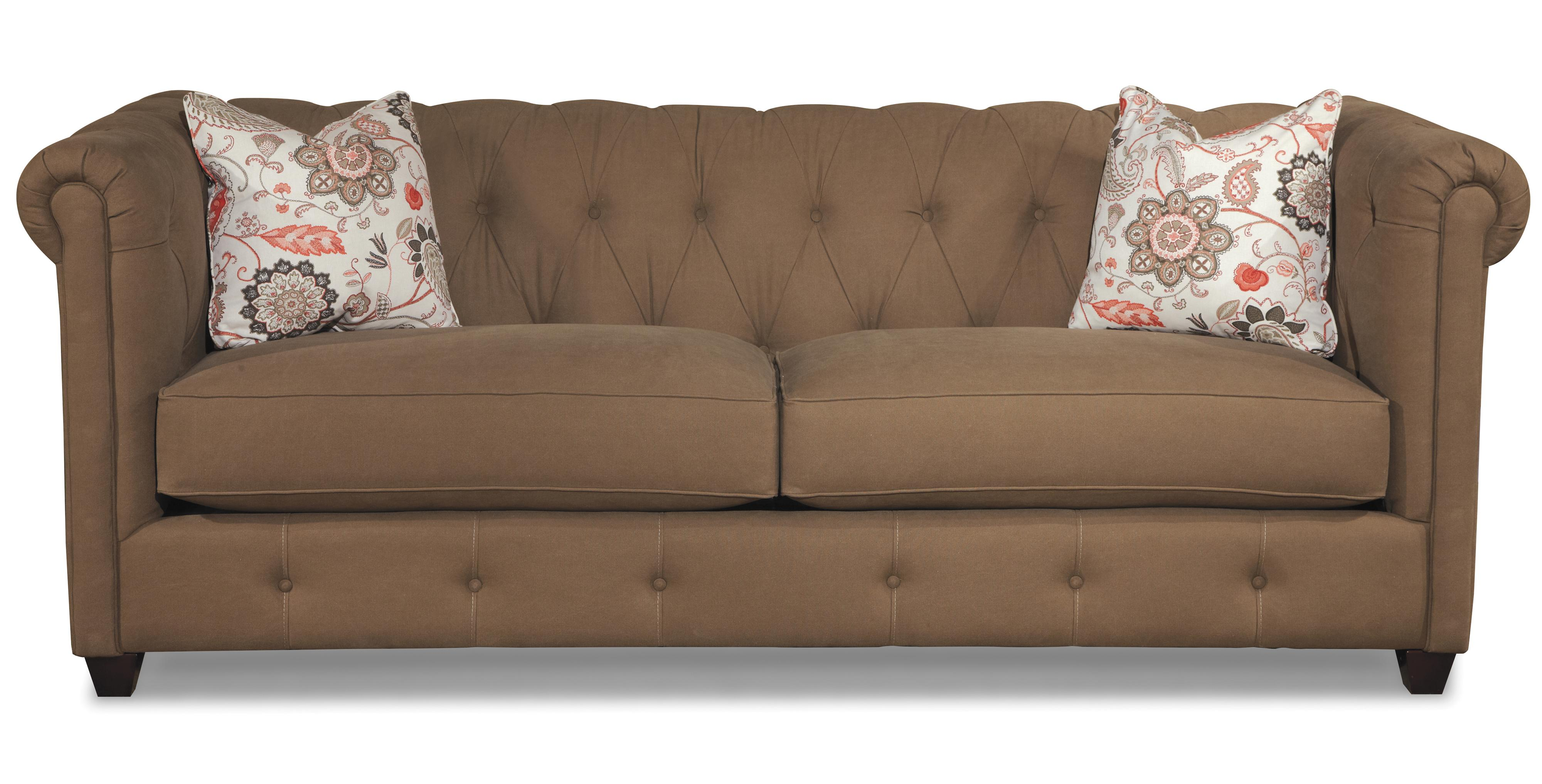 Klaussner Beech Mountain Traditional Chesterfield Sofa with Downblend Cushions Value City